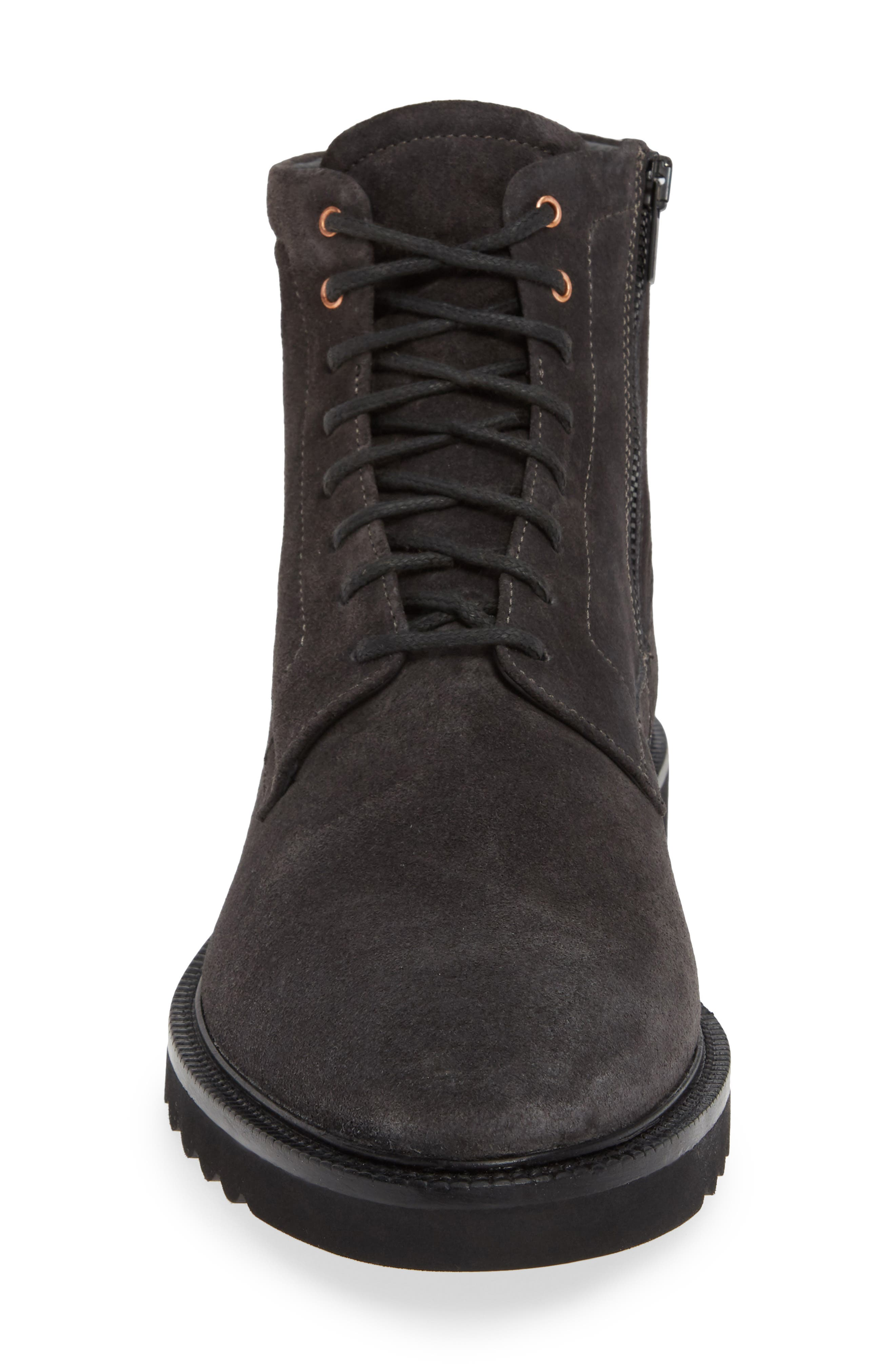 Microlight Plain Toe Boot,                             Alternate thumbnail 4, color,                             CHARCOAL LEATHER