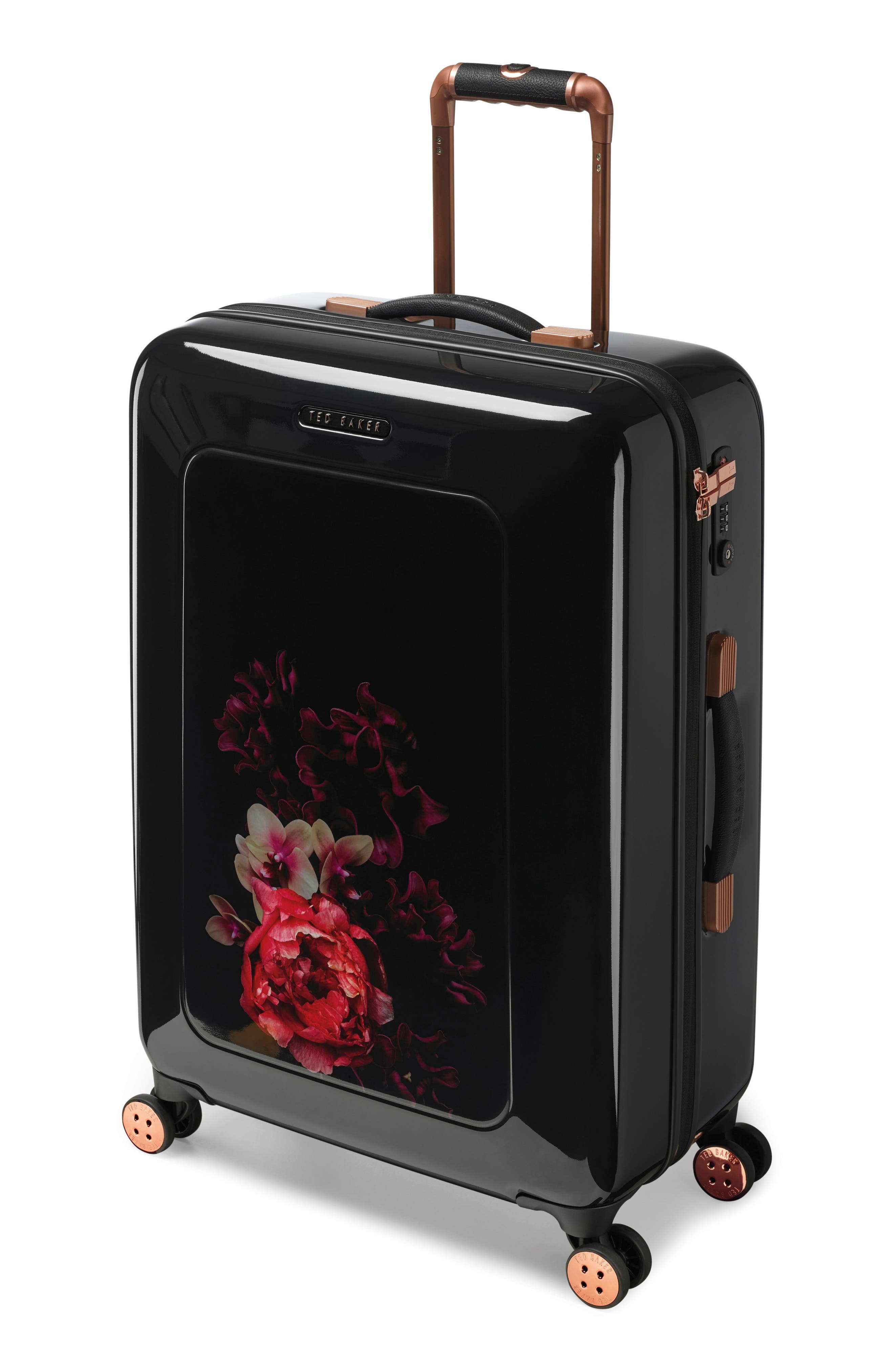 Medium Splendour Print 28-Inch Hard Shell Spinner Suitcase,                             Alternate thumbnail 3, color,                             BLACK