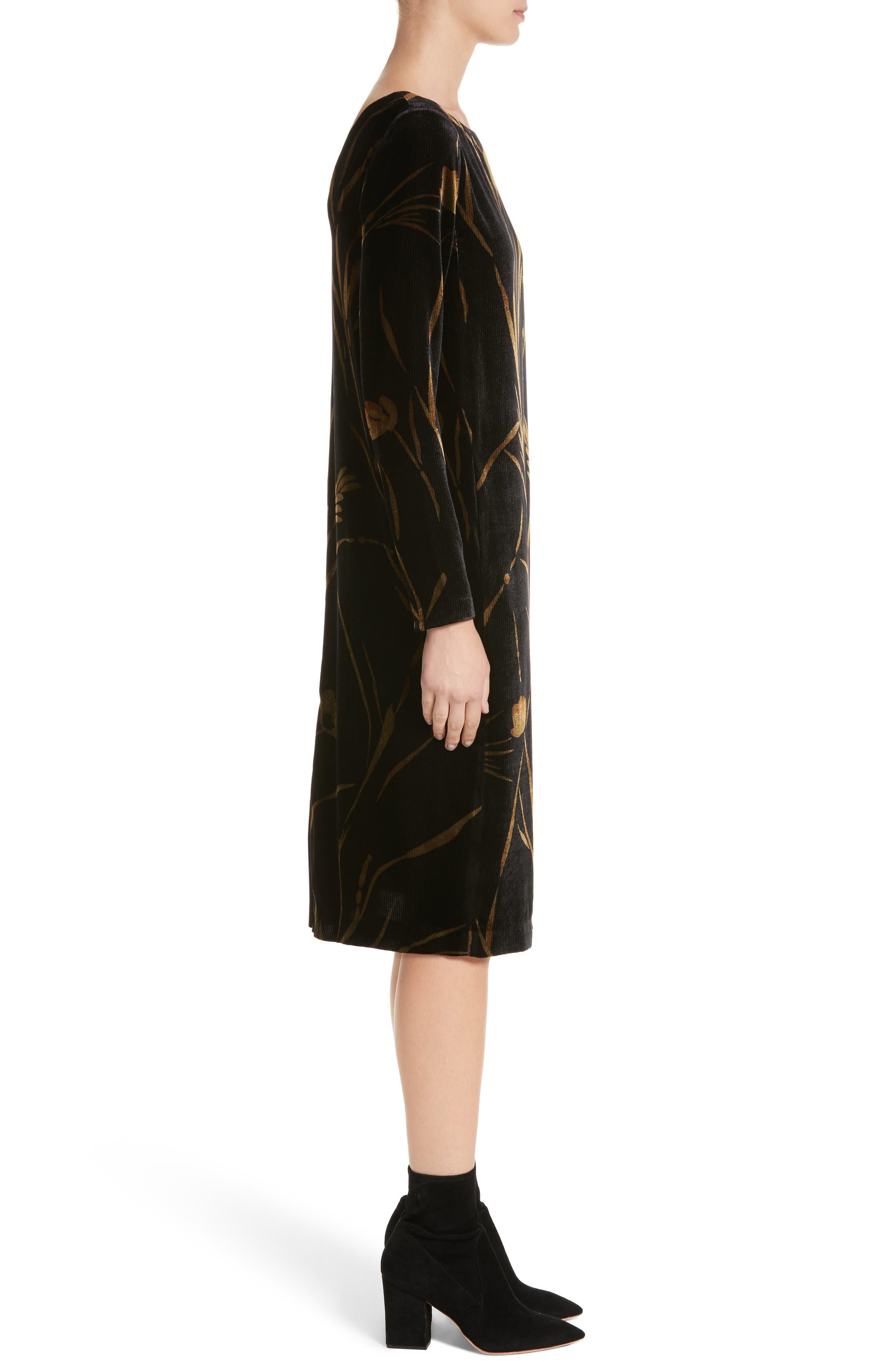 Loribel Golden Bloom Velvet Dress,                             Alternate thumbnail 3, color,