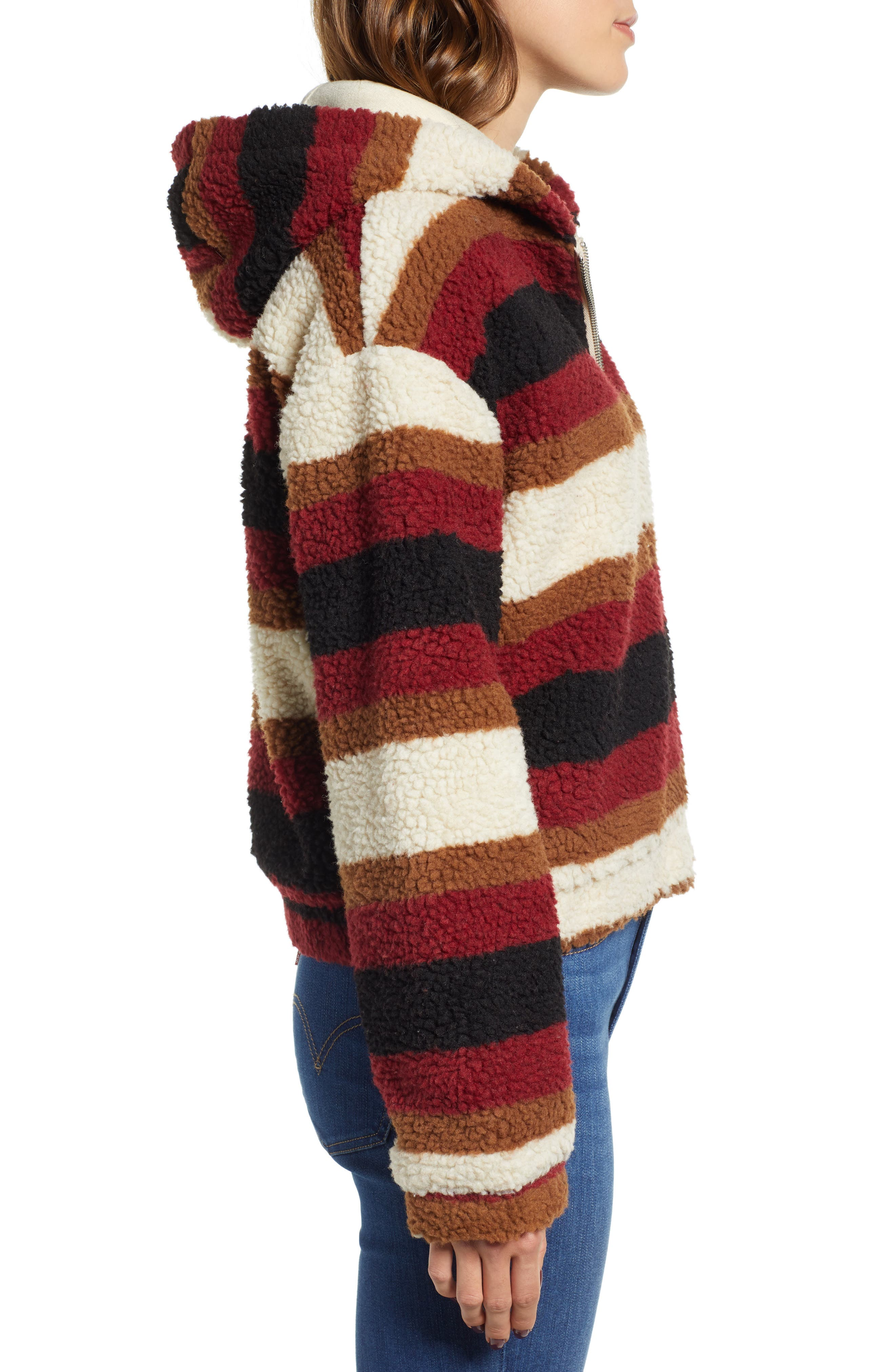 Stripe Fleece Hooded Jacket,                             Alternate thumbnail 3, color,                             NATURAL STRIPE