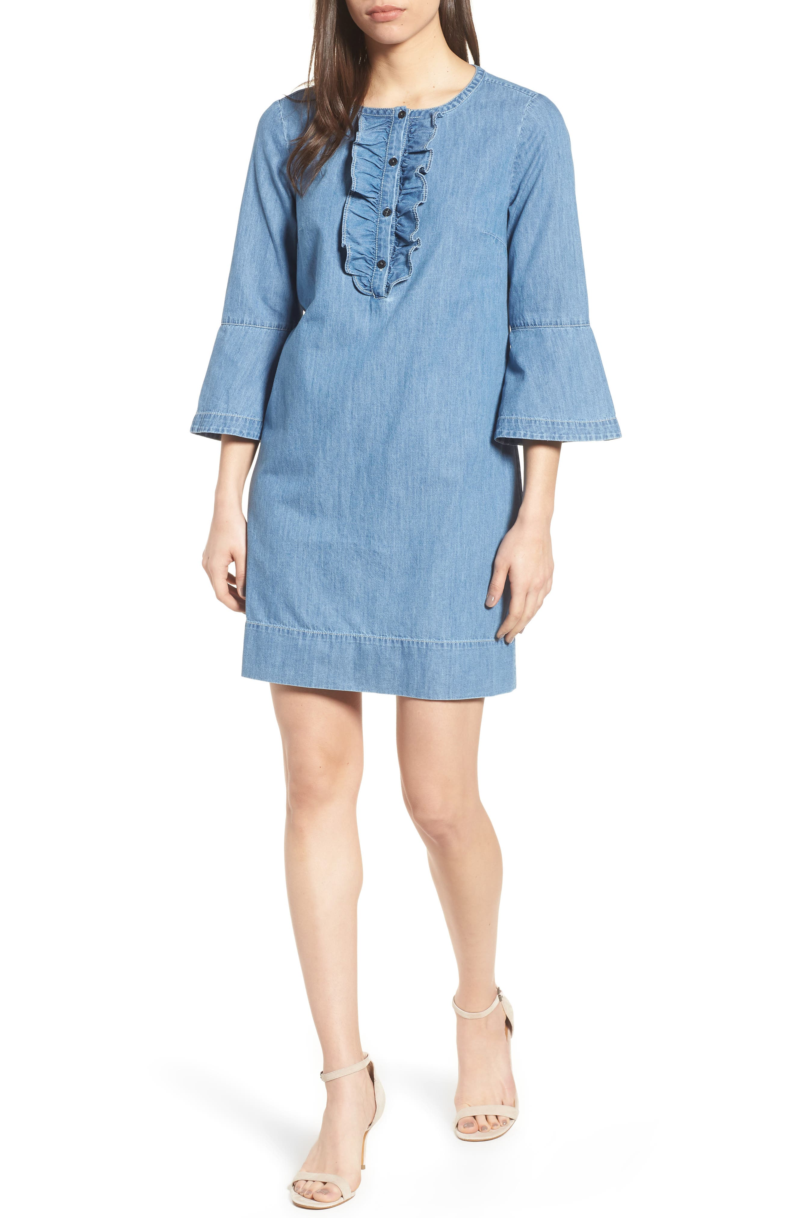 Chambray Ruffle Shift Dress,                         Main,                         color, 455