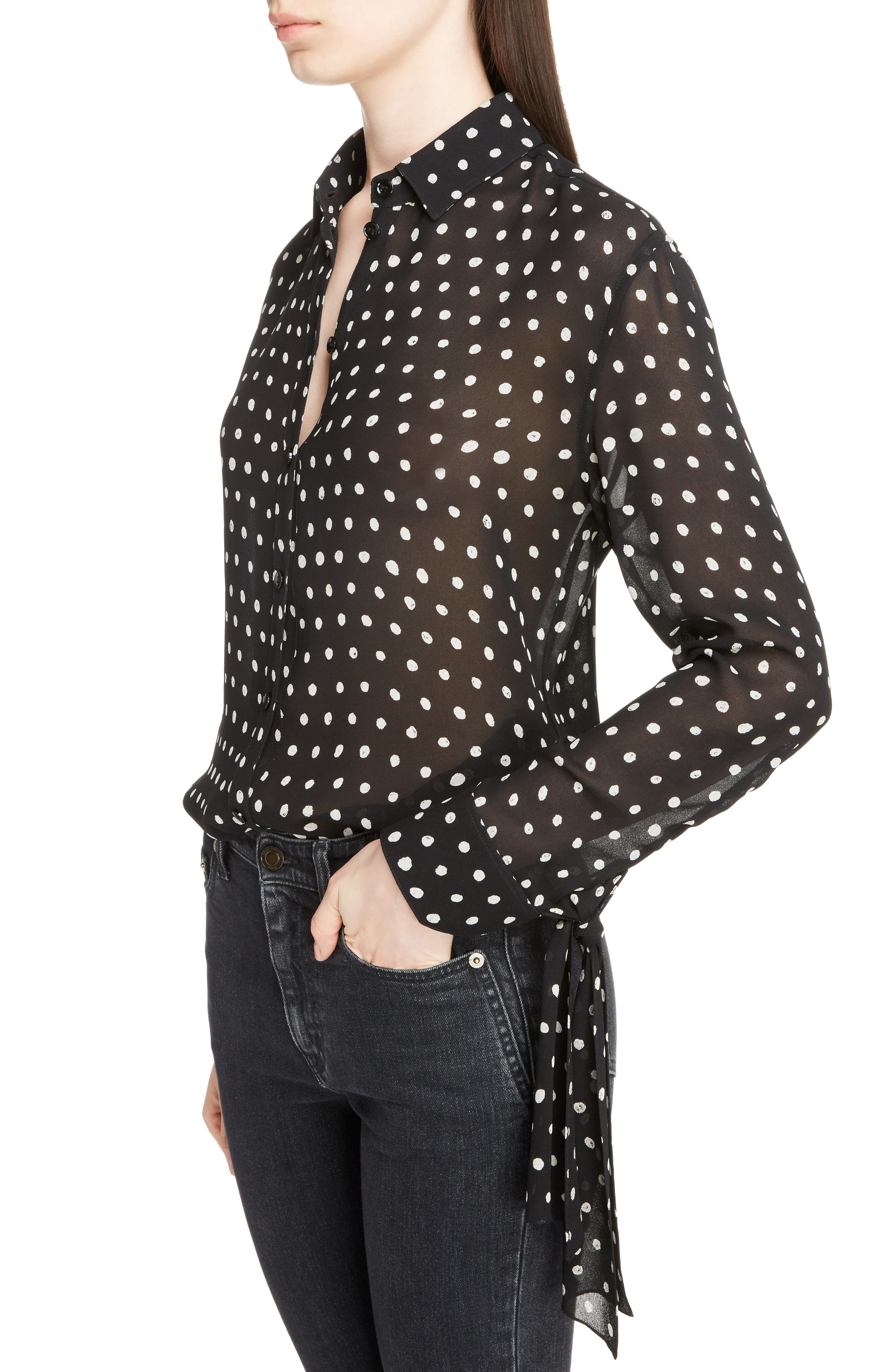 Tie Cuff Polka Dot Blouse,                             Alternate thumbnail 4, color,                             007