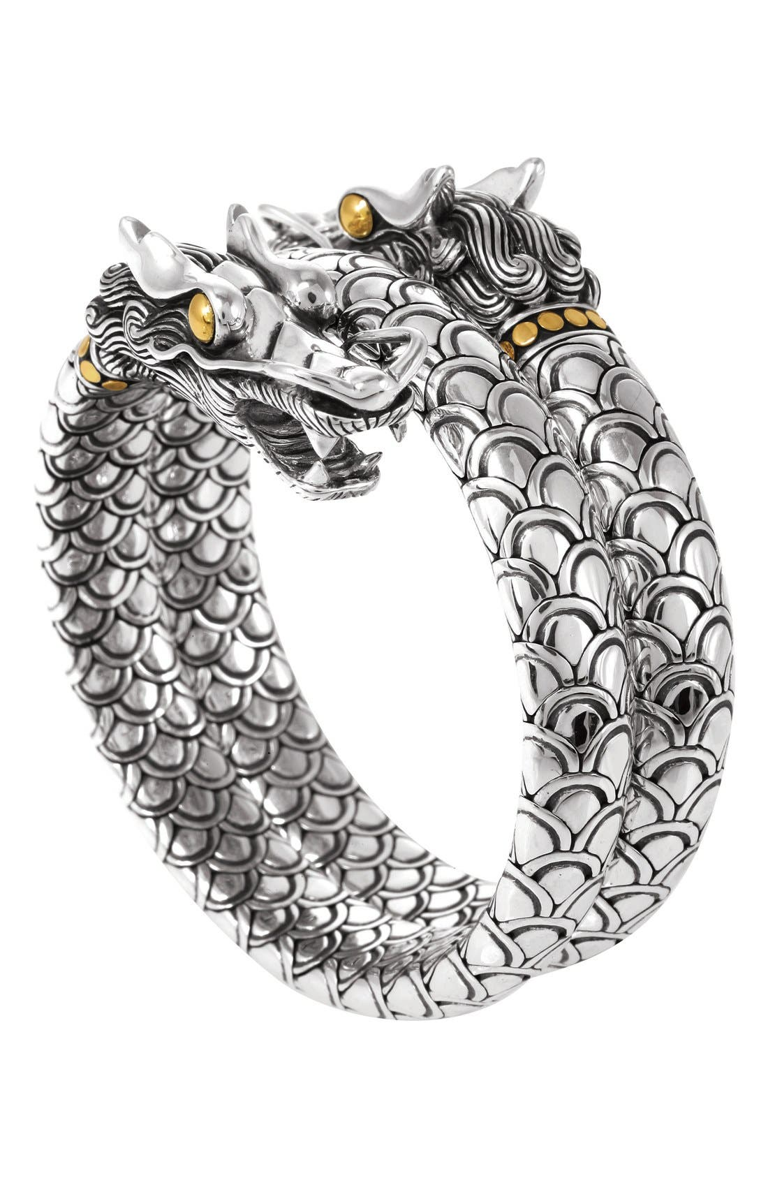 'Naga' Double Coil Dragon Bracelet,                             Main thumbnail 1, color,                             SILVER/ GOLD