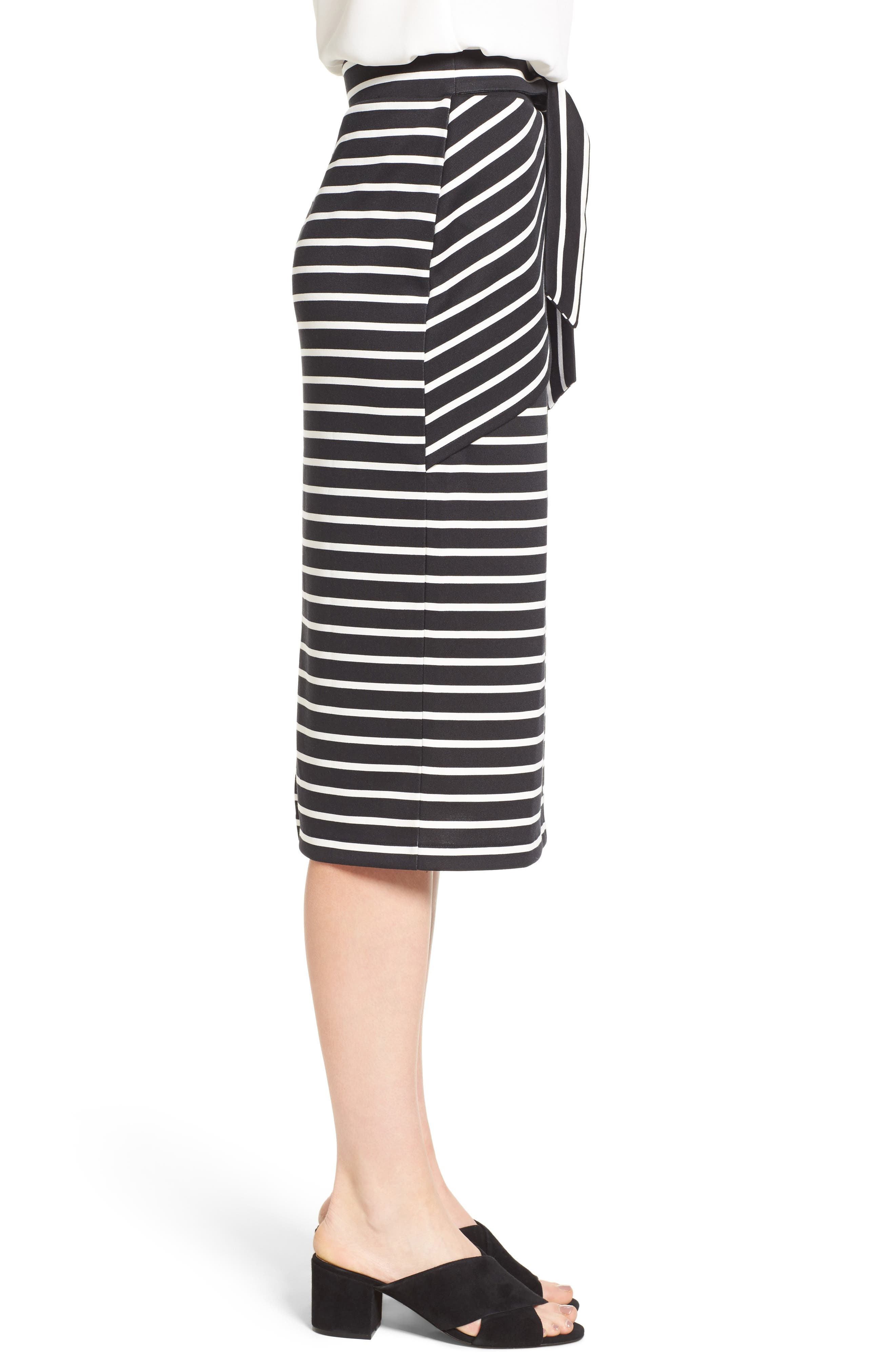 HALOGEN<SUP>®</SUP>,                             Stripe Tie Waist Tiered Front Knit Tube Skirt,                             Alternate thumbnail 3, color,                             001