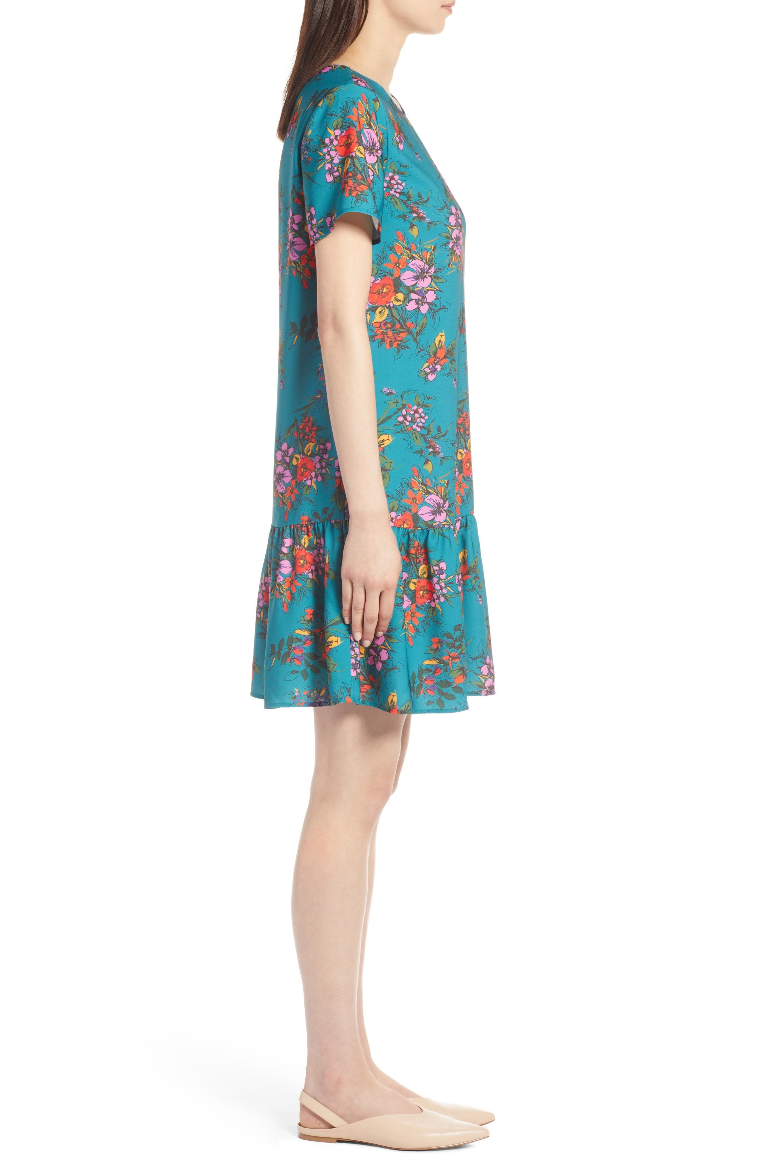 Short Sleeve Ruffle Hem Dress,                             Alternate thumbnail 17, color,