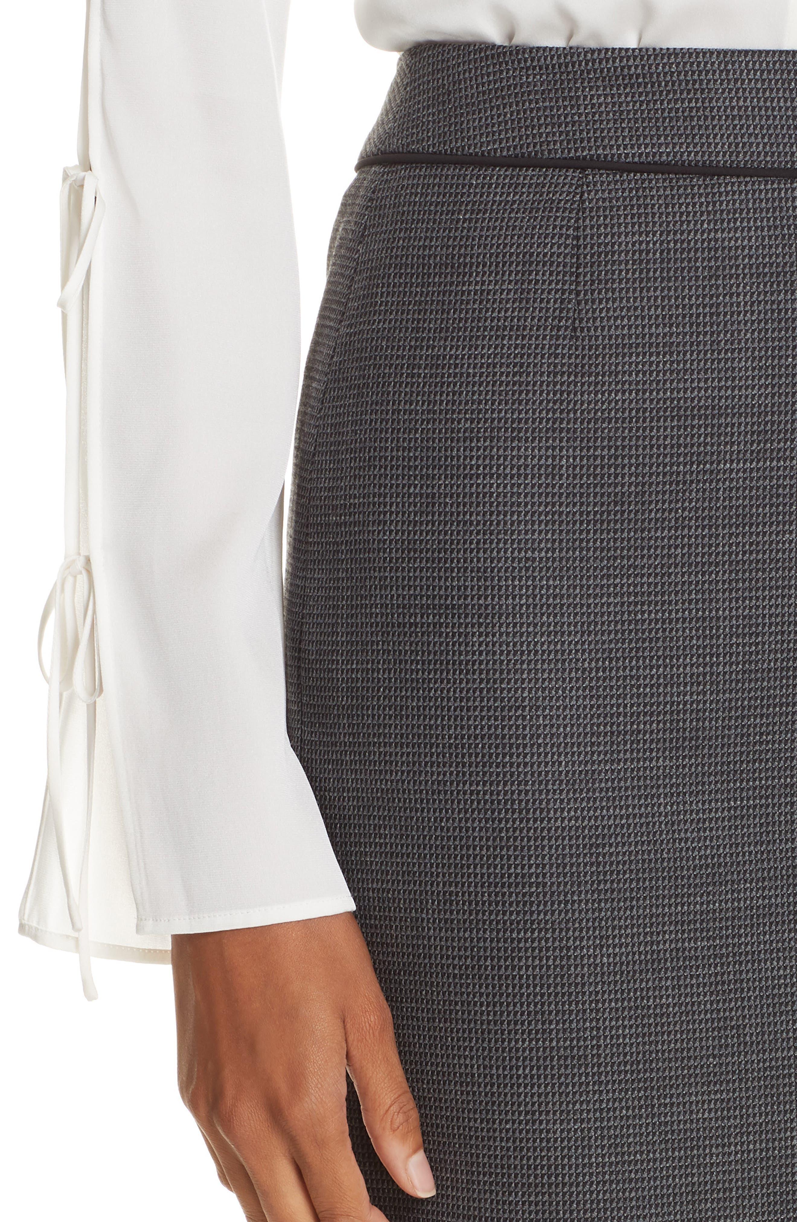 Vorita Geometric Wool Blend Suit Skirt,                             Alternate thumbnail 4, color,                             GREY FANTASY