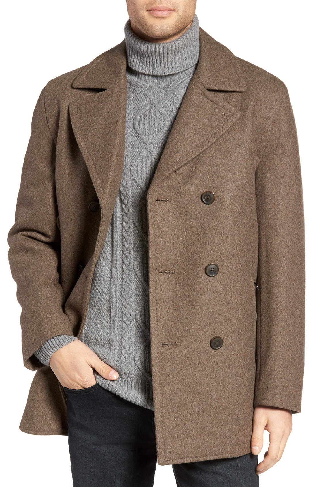 Wool Blend Double Breasted Peacoat,                             Main thumbnail 12, color,