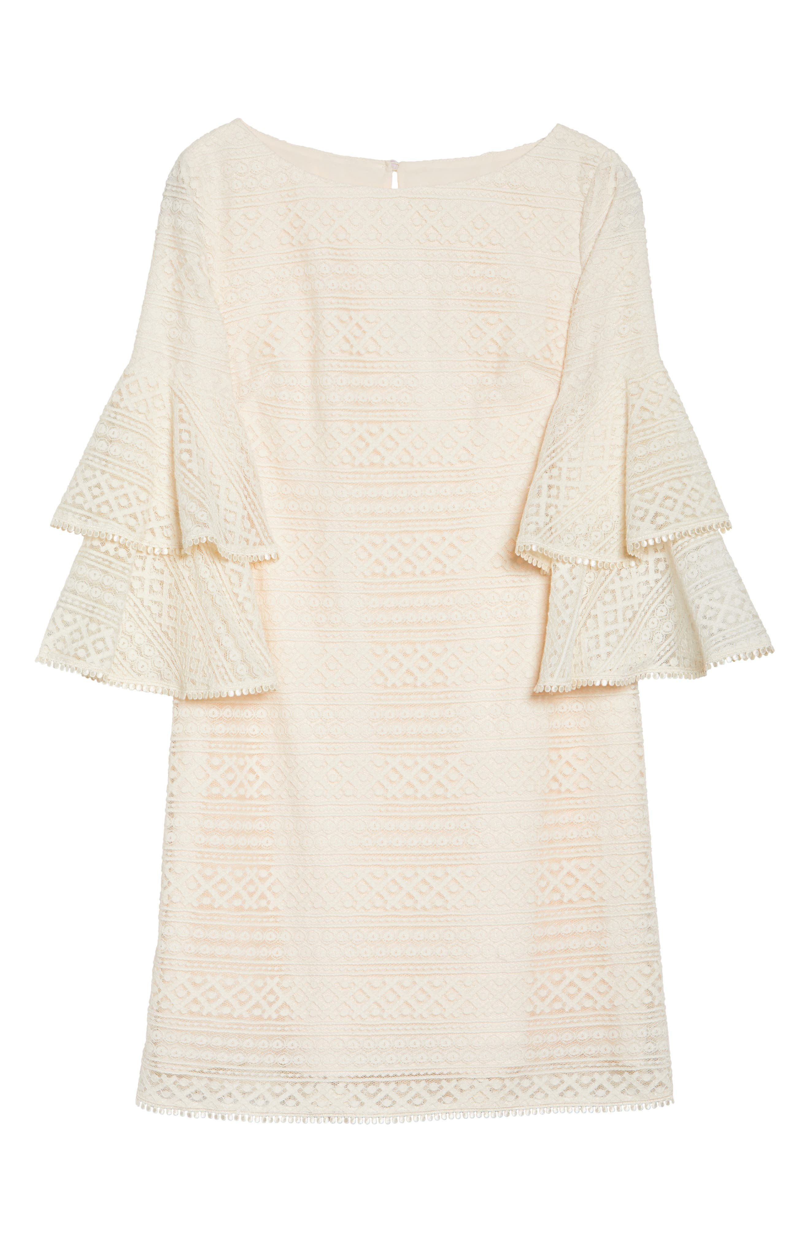 Bell Sleeve Lace Shift Dress,                             Alternate thumbnail 6, color,                             900