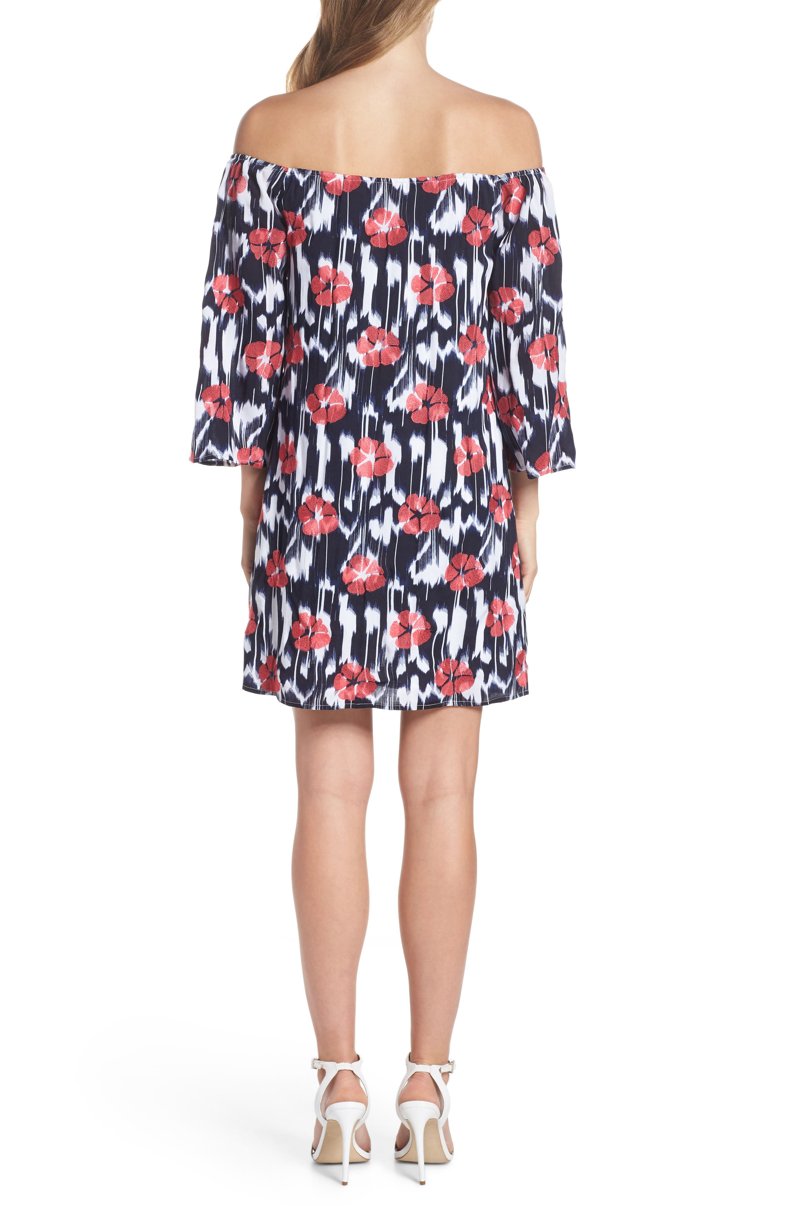 TRINA TRINA TURK,                             Kenwood Off the Shoulder Shift Dress,                             Alternate thumbnail 2, color,                             460