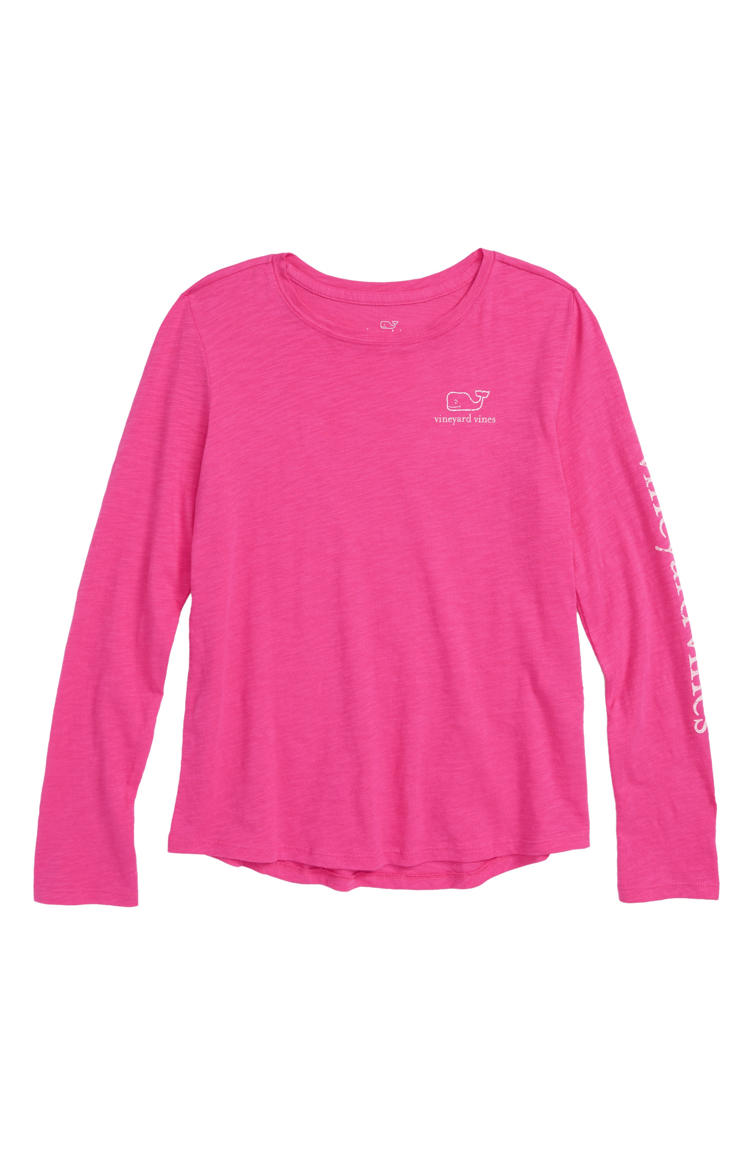 Whale Long Sleeve Tee,                         Main,                         color, RHODODENDRON 2