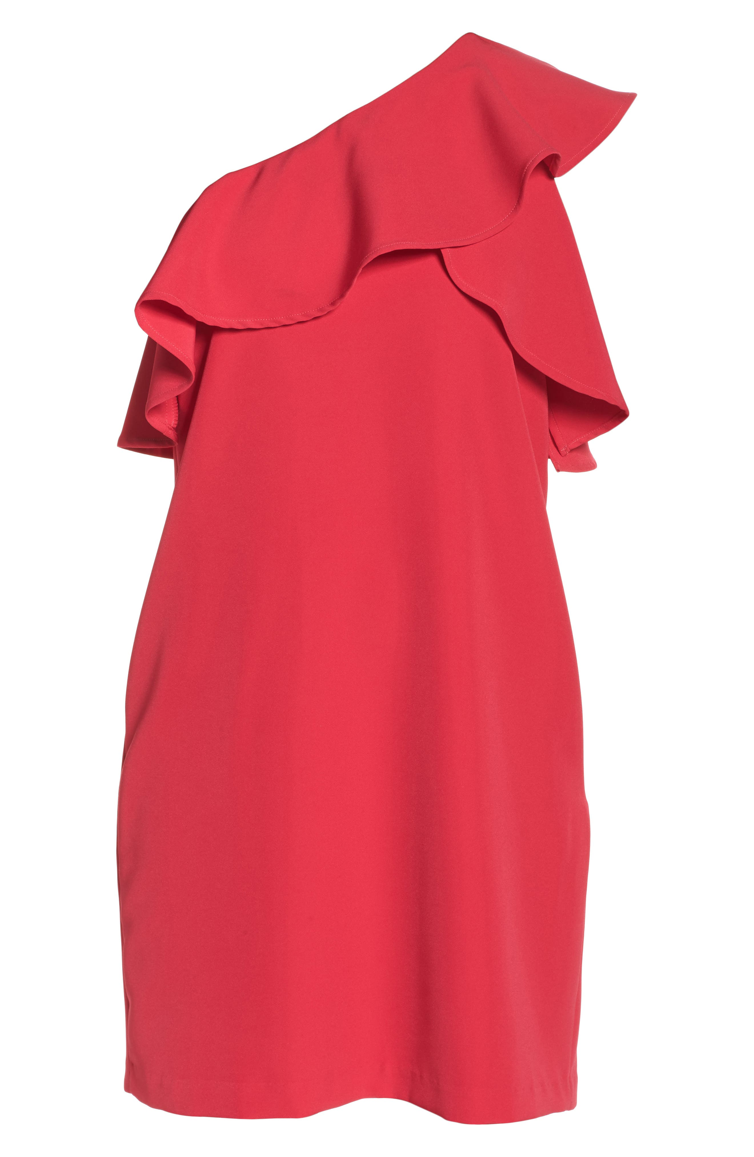 Ruffle One-Shoulder Dress,                             Alternate thumbnail 6, color,                             657