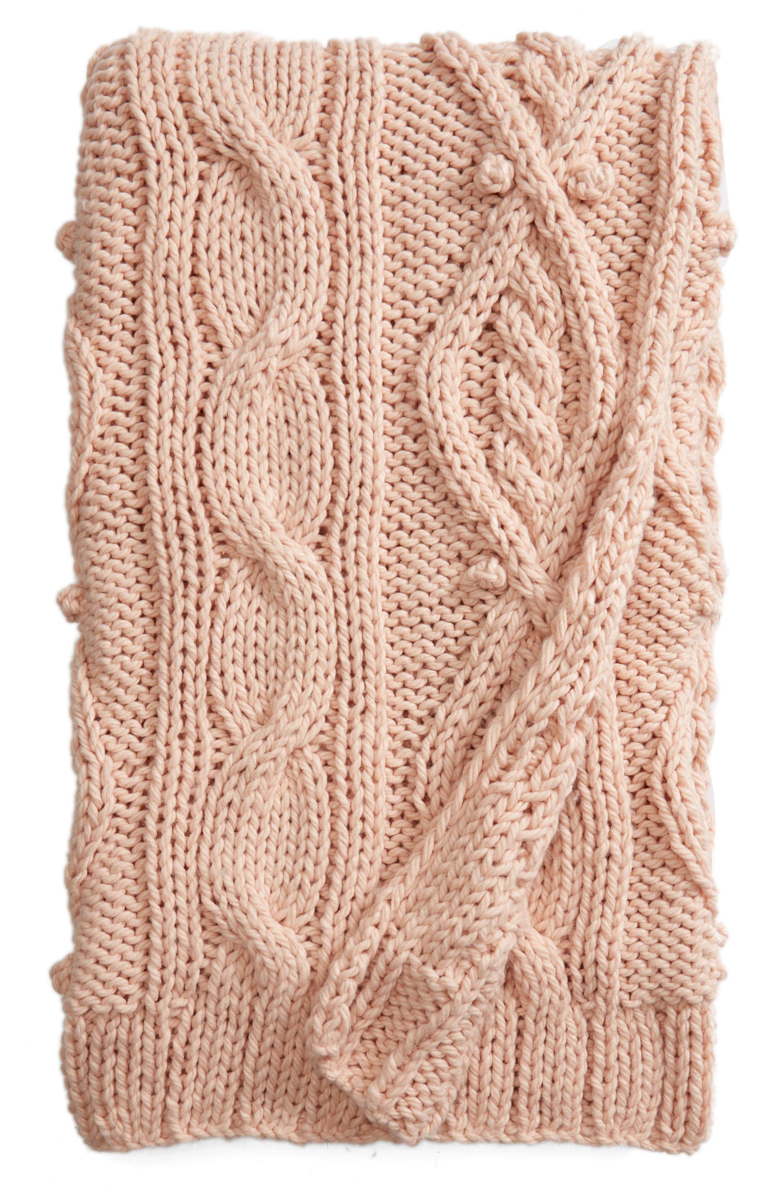 Chunky Cable Knit Throw Blanket,                             Main thumbnail 1, color,                             PINK HERO