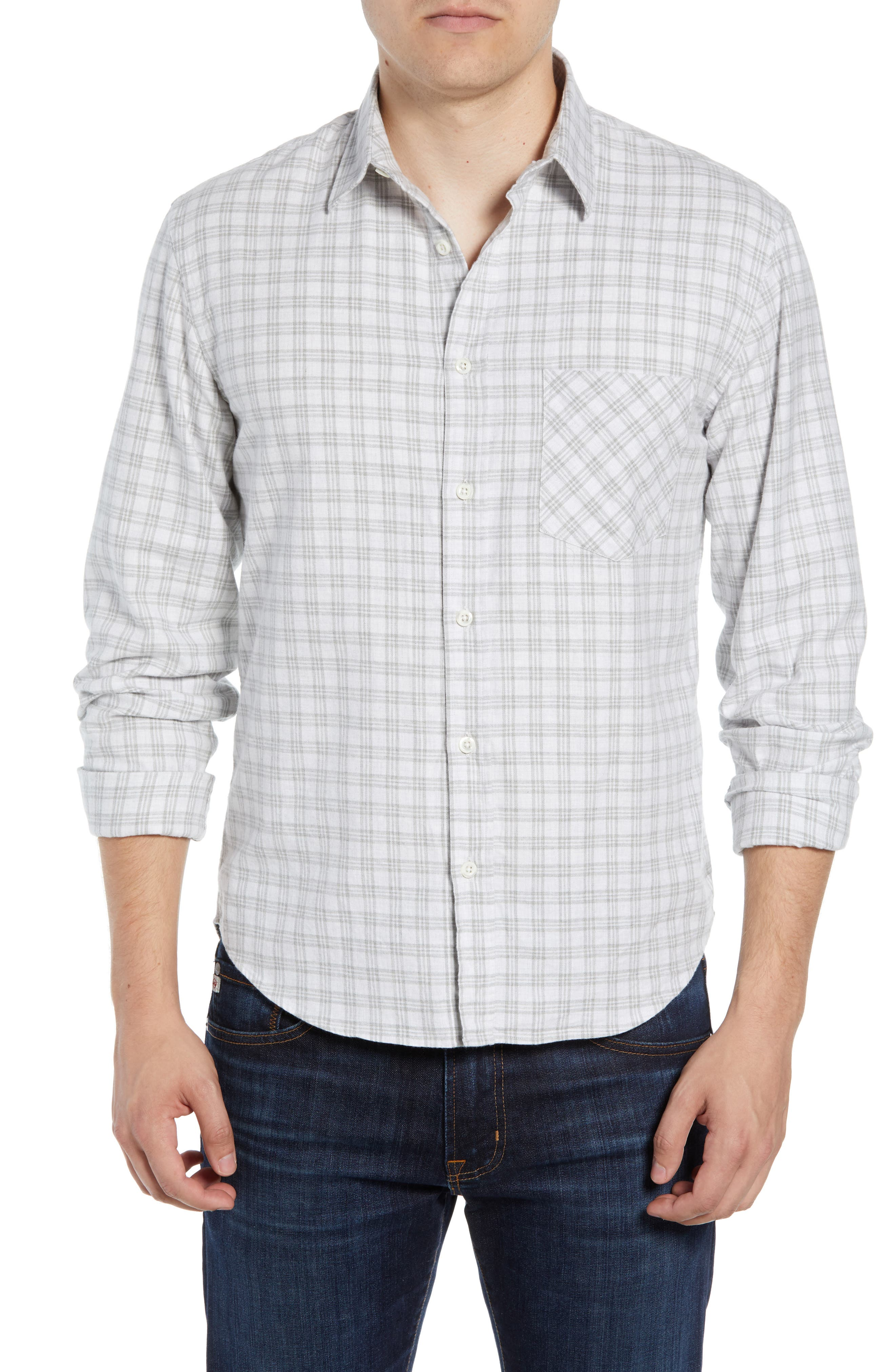 Kirby Slim Fit Check Sport Shirt,                         Main,                         color, LIGHT GREY/ NATURAL