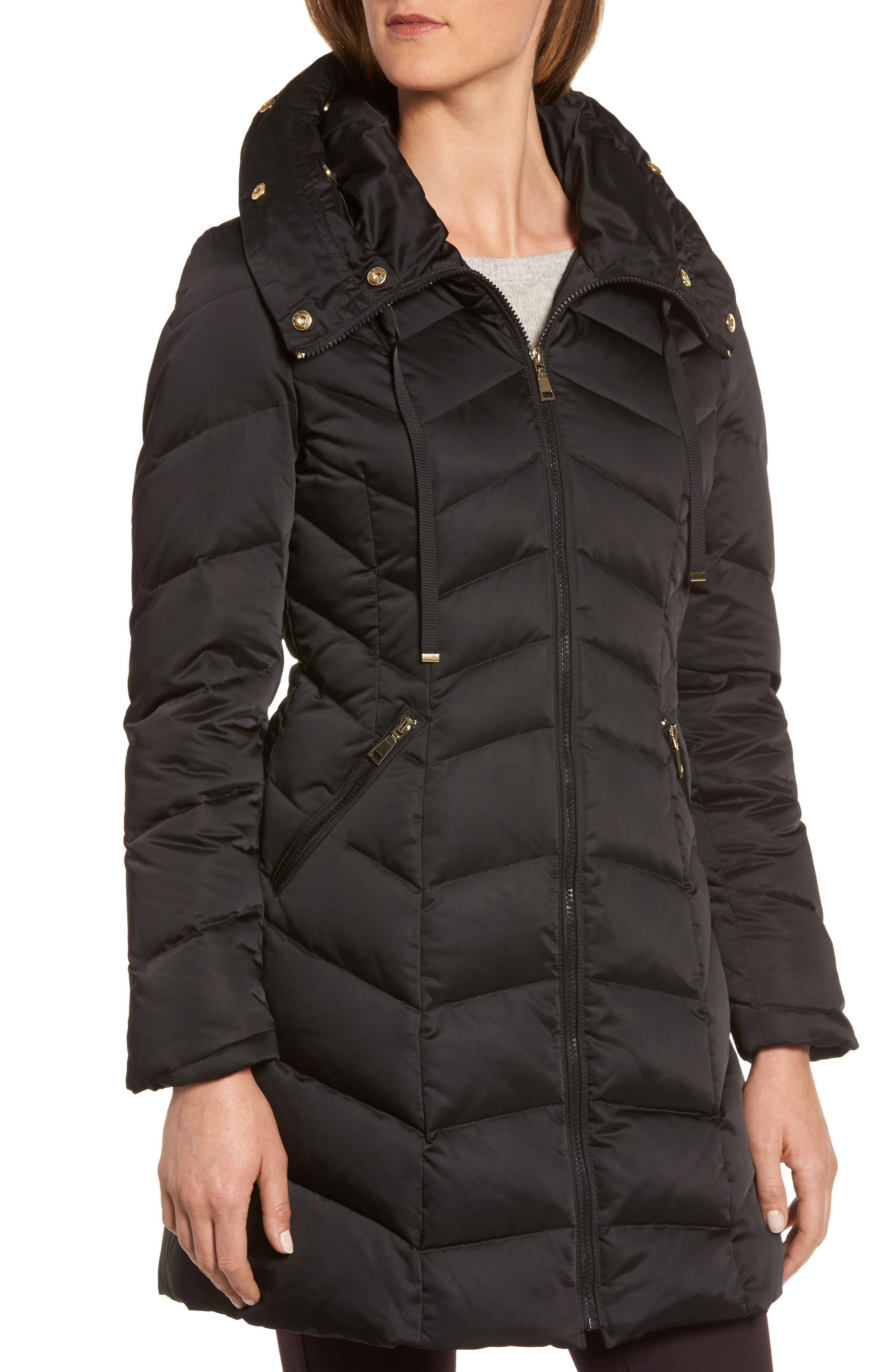 Gwen Chevron Down & Feather Faux Fur Coat,                             Alternate thumbnail 4, color,                             BLACK
