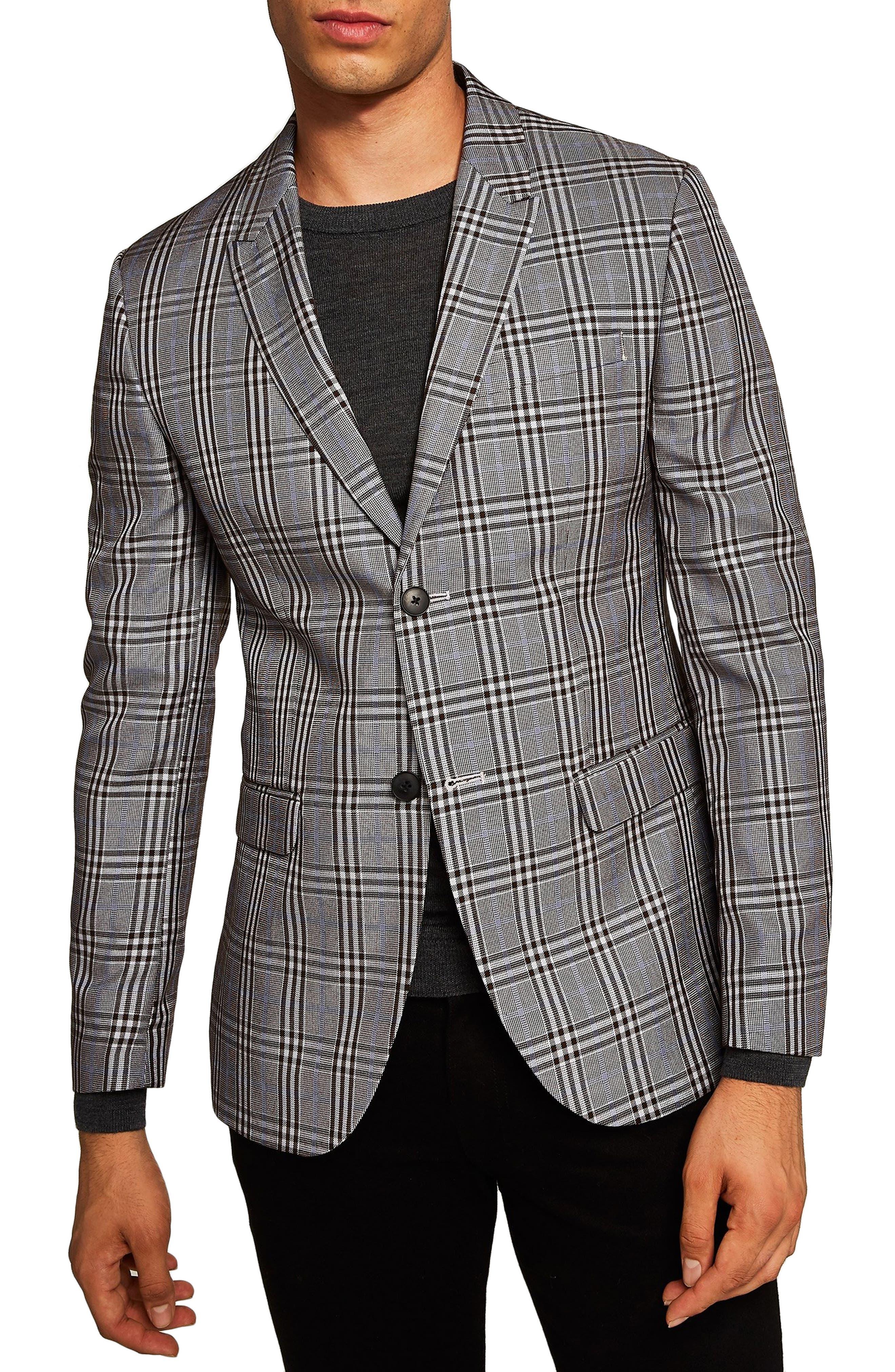 Skinny Fit Check Sport Coat,                         Main,                         color, 020