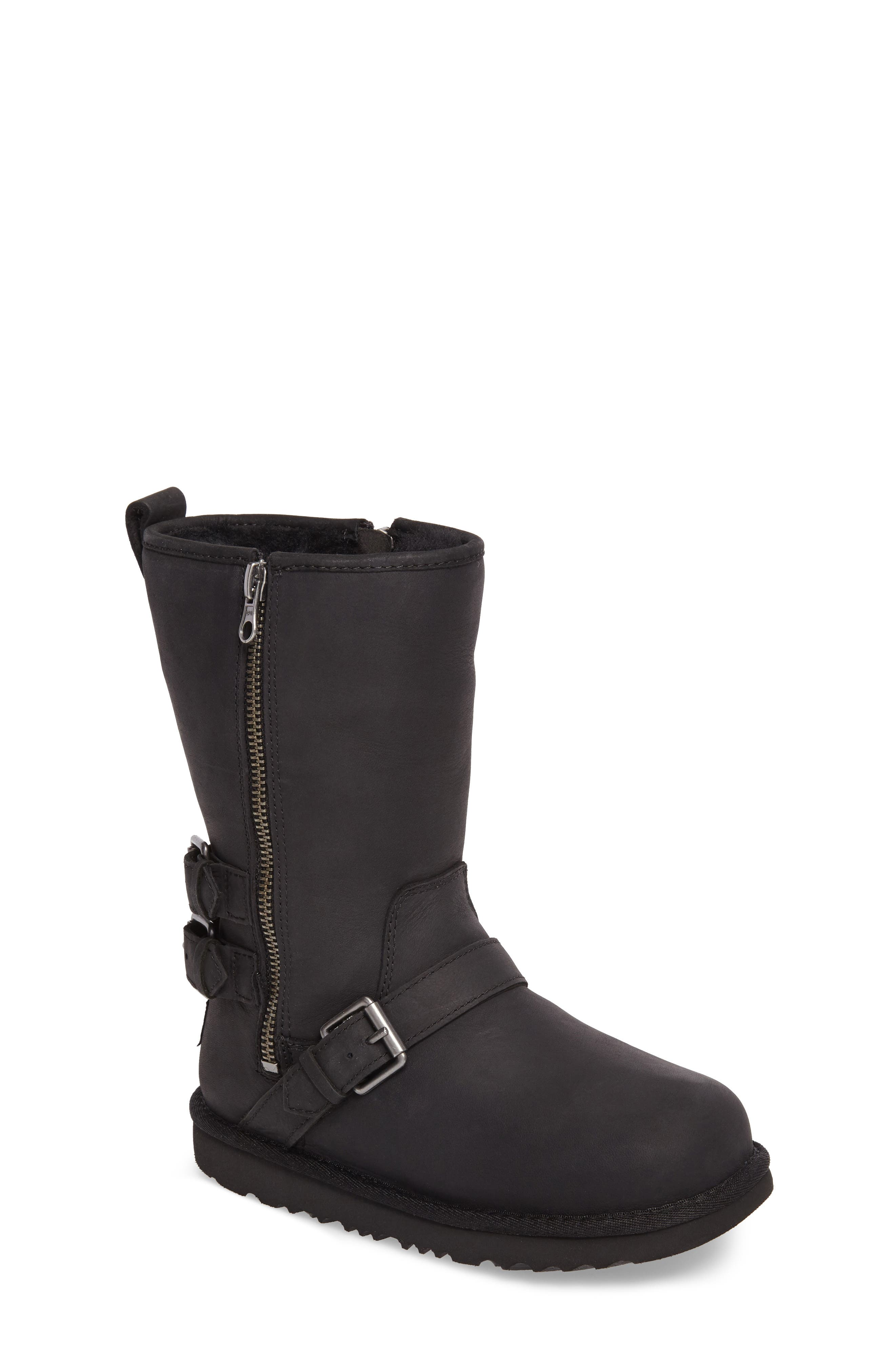 Kaila Genuine Shearling Buckle Strap Boot,                         Main,                         color, 001