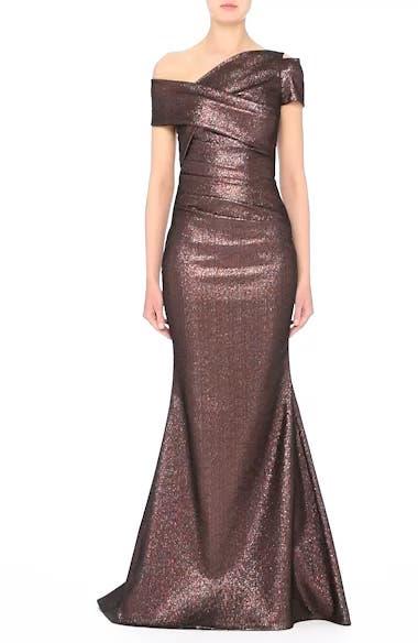 Glitter Knit Asymmetrical Mermaid Gown, video thumbnail