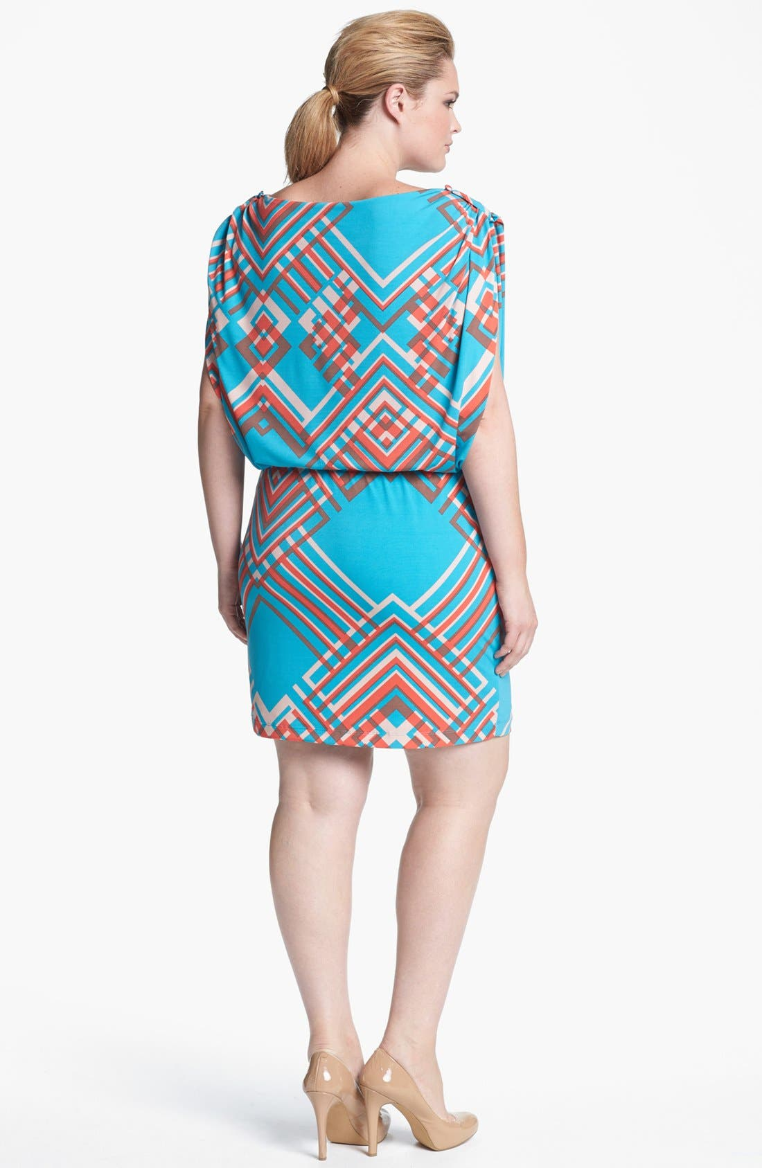 Print Jersey Blouson Dress,                             Alternate thumbnail 3, color,                             421