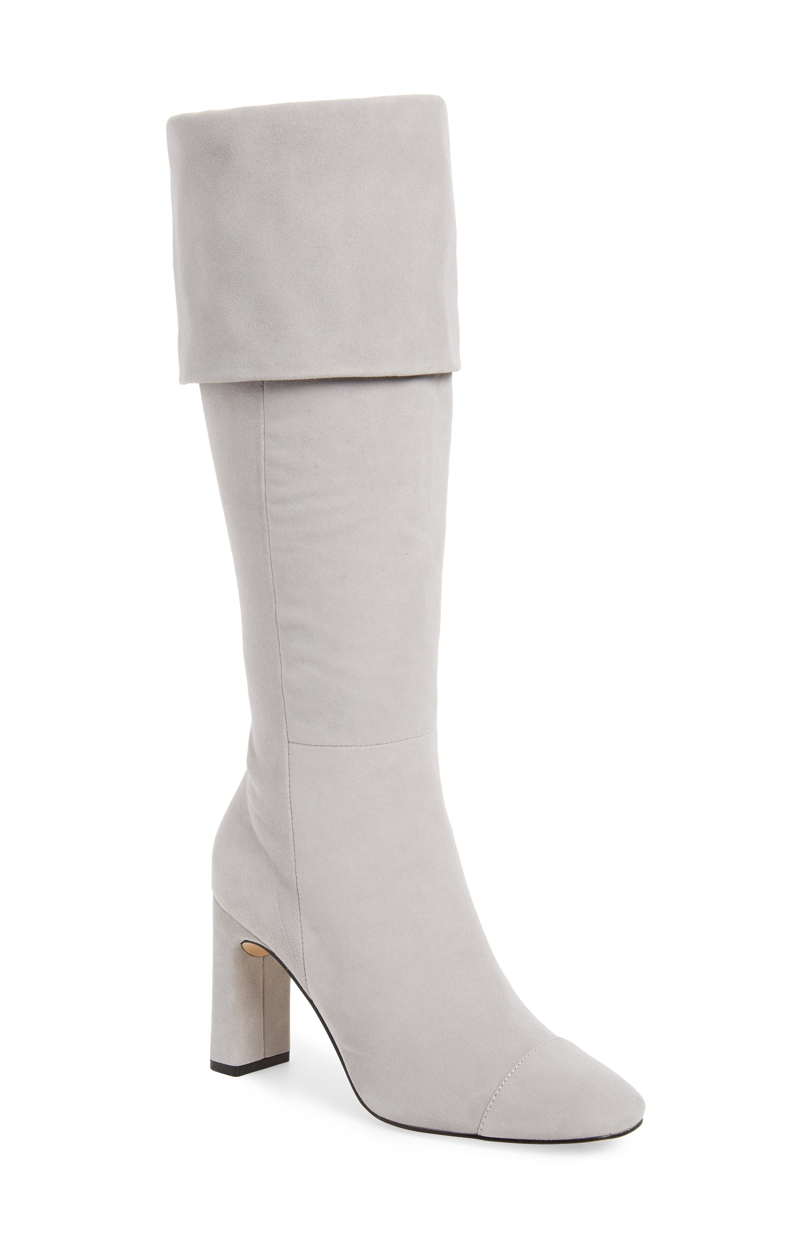 Mia Knee High Boot,                         Main,                         color, LIGHT GREY SUEDE