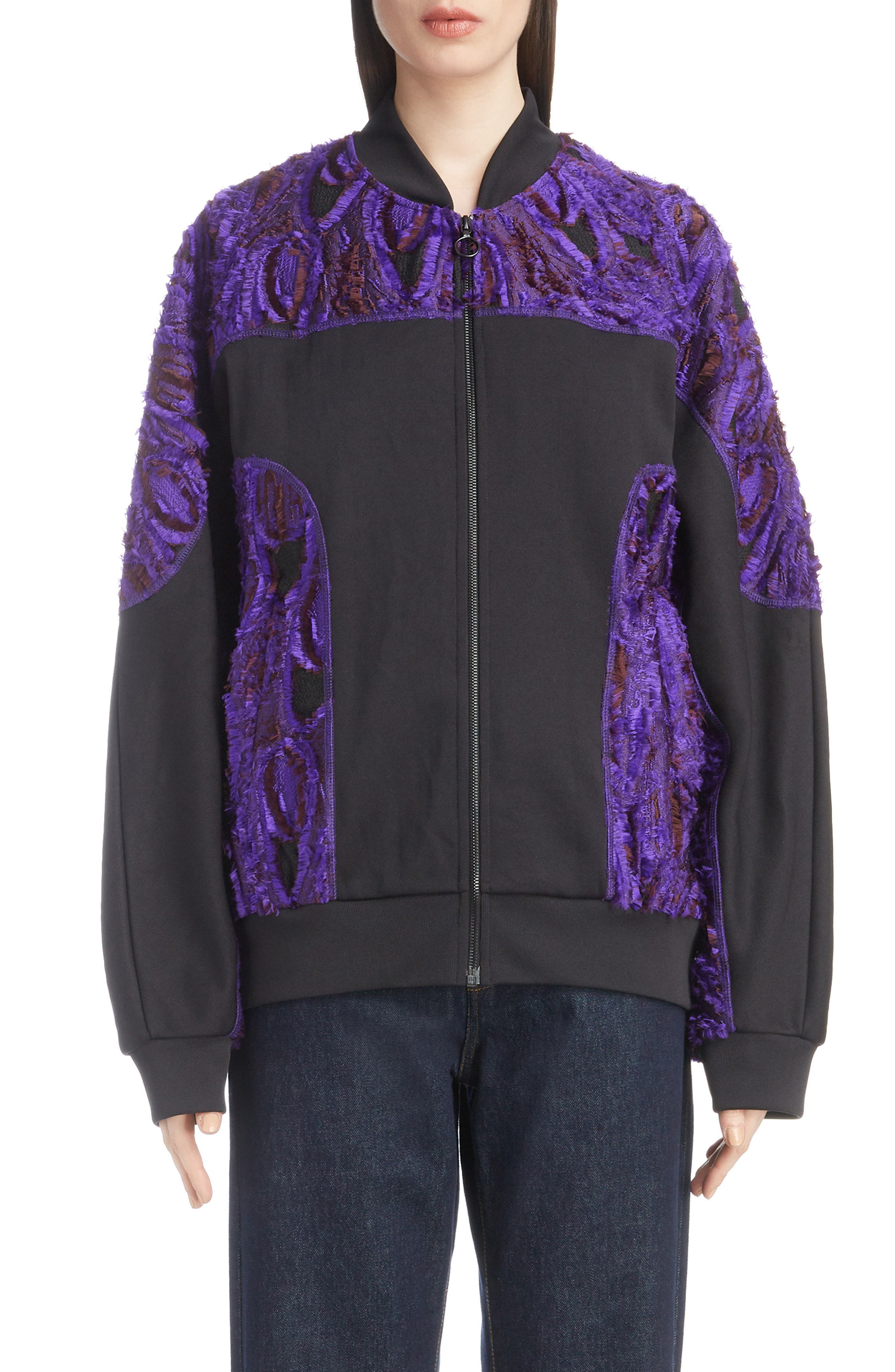 Textured Bomber Jacket,                             Main thumbnail 1, color,                             BLACK