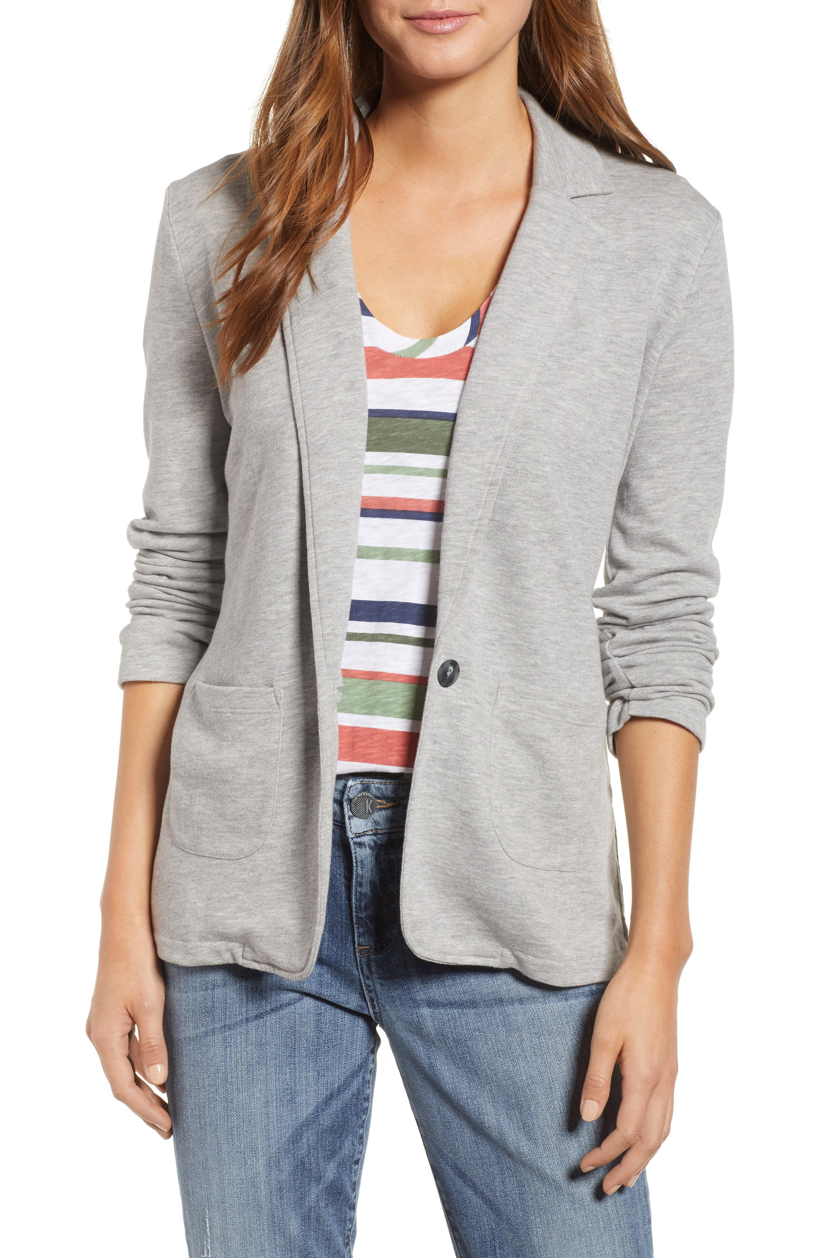 Two Pocket Knit Blazer,                             Main thumbnail 1, color,                             GREY HEATHER