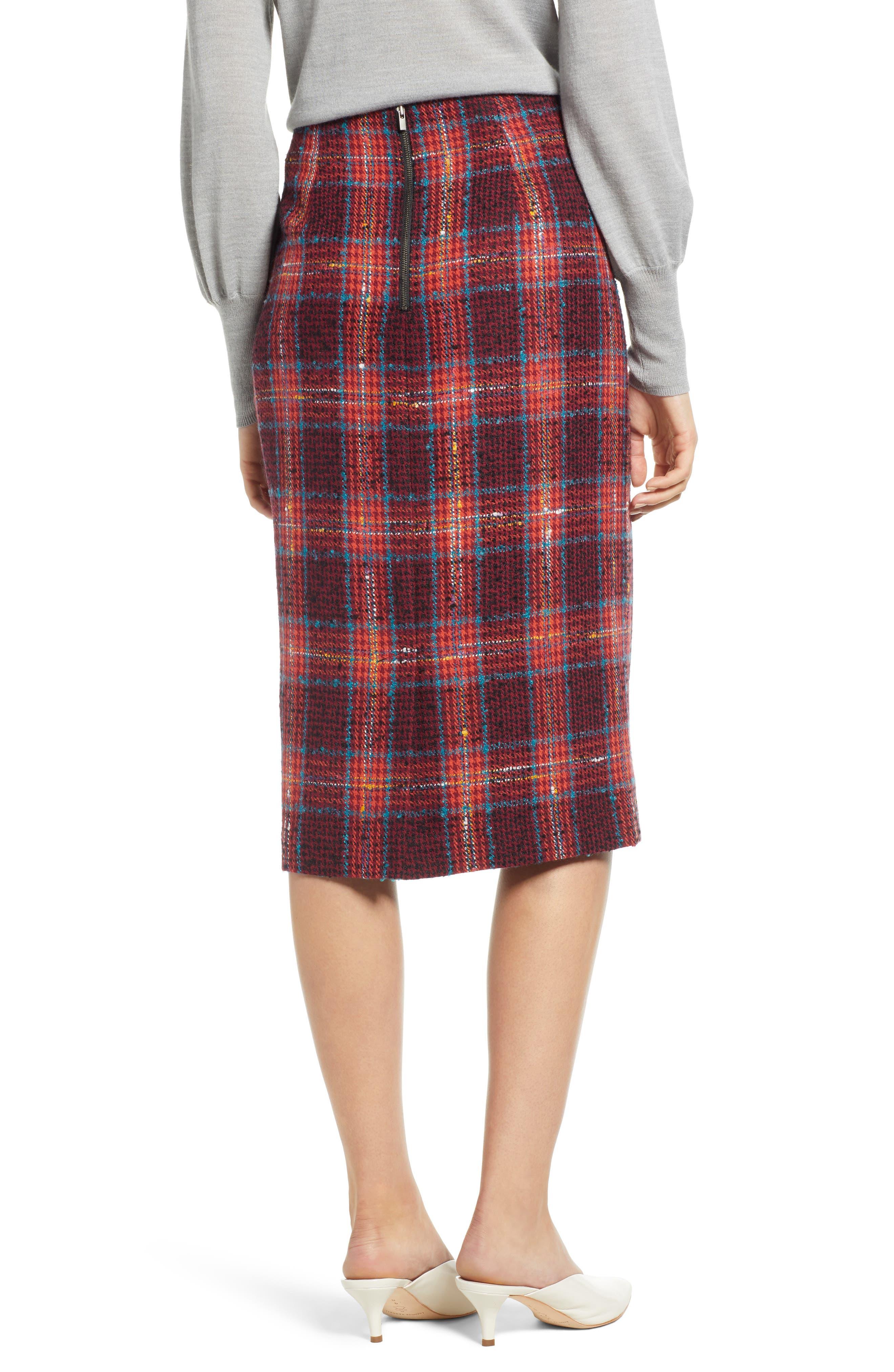 Plaid Tweed Pencil Skirt,                             Alternate thumbnail 2, color,                             RED MULTI PLAID