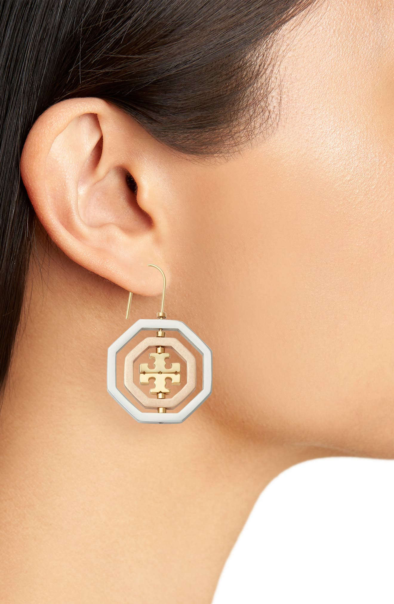 Logo Spinner Drop Earrings,                             Alternate thumbnail 2, color,                             GOLD/ SILVER/ ROSE GOLD