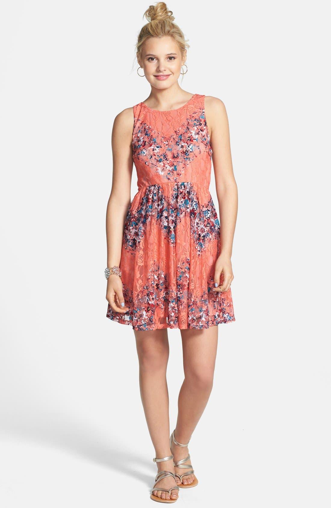 Fire Stretch Lace Skater Dress,                             Alternate thumbnail 4, color,                             440
