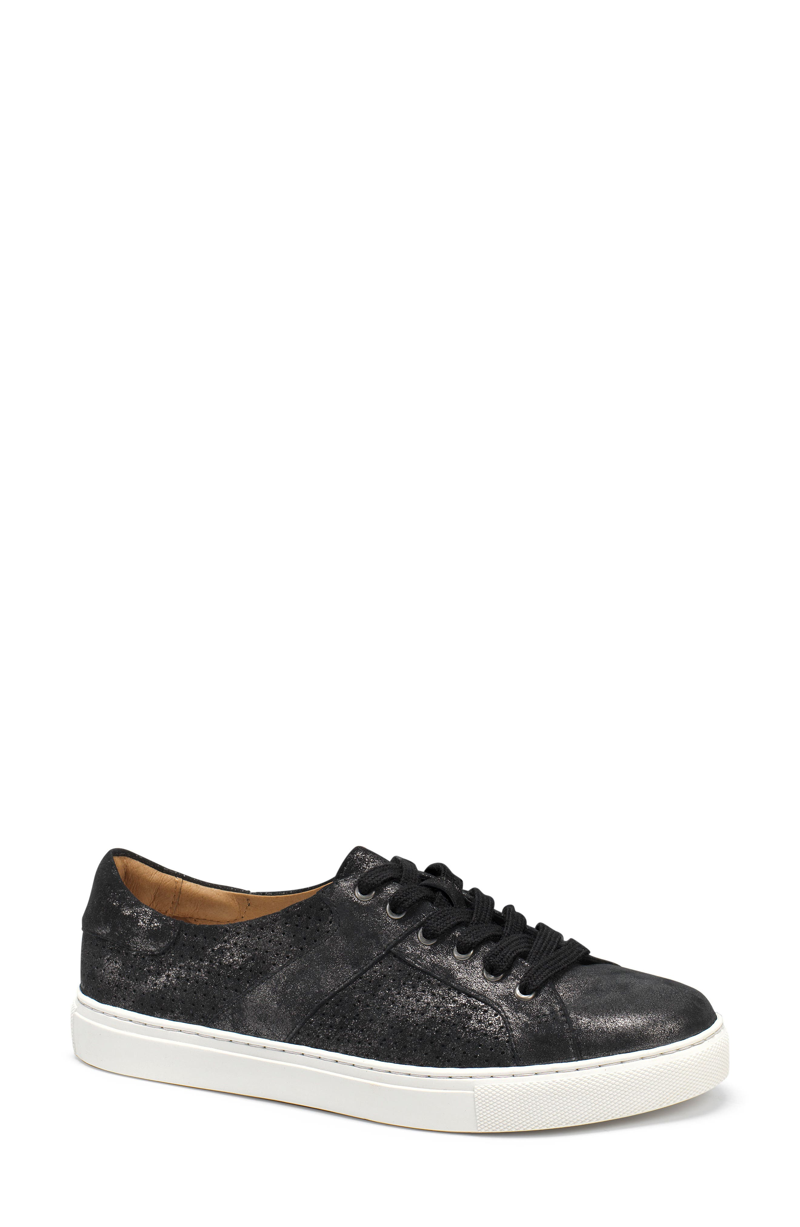 Lindsey Sneaker,                         Main,                         color, BLACK METALLIC LEATHER