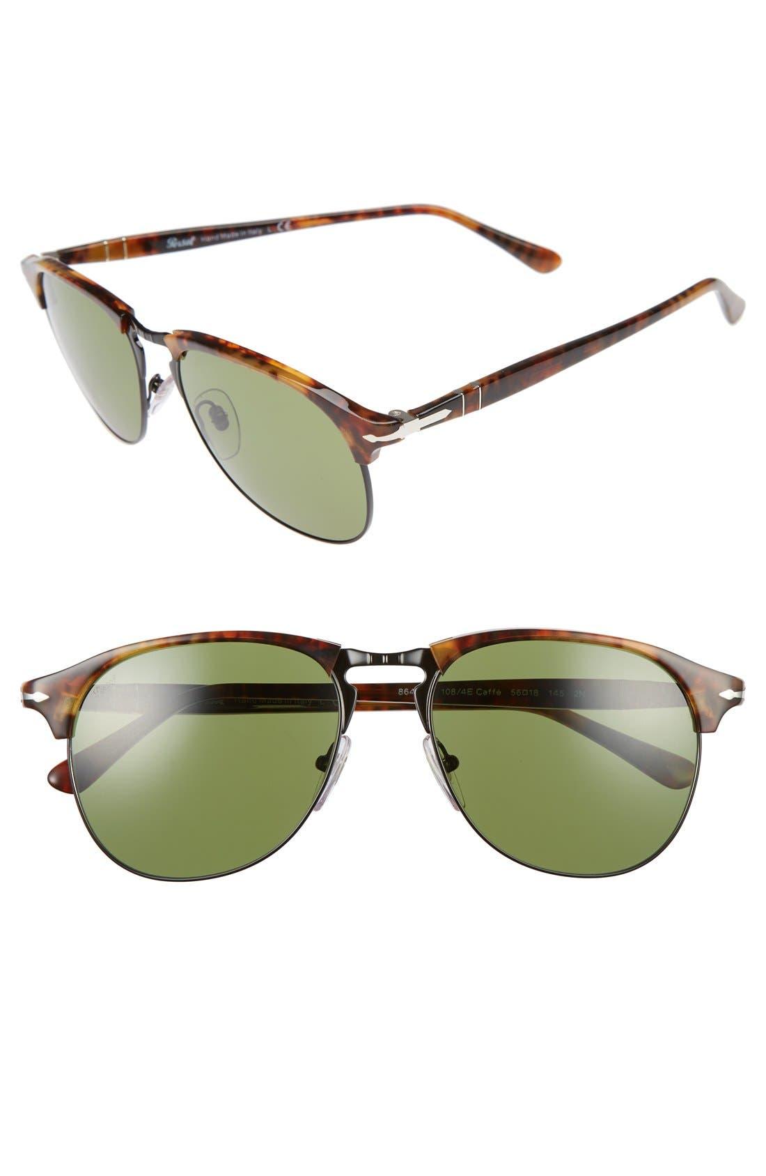 56mm Keyhole Sunglasses,                         Main,                         color, DARK HAVANA