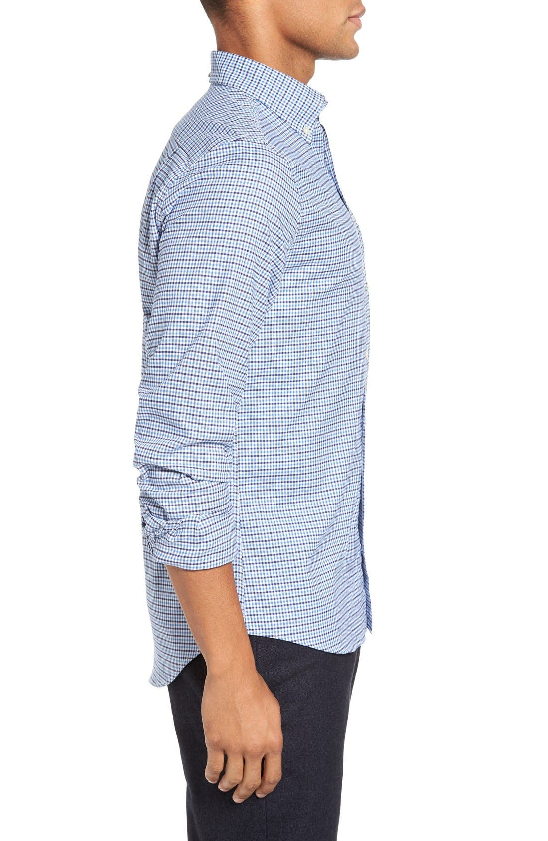 Gingham Fitted Sport Shirt,                             Alternate thumbnail 3, color,