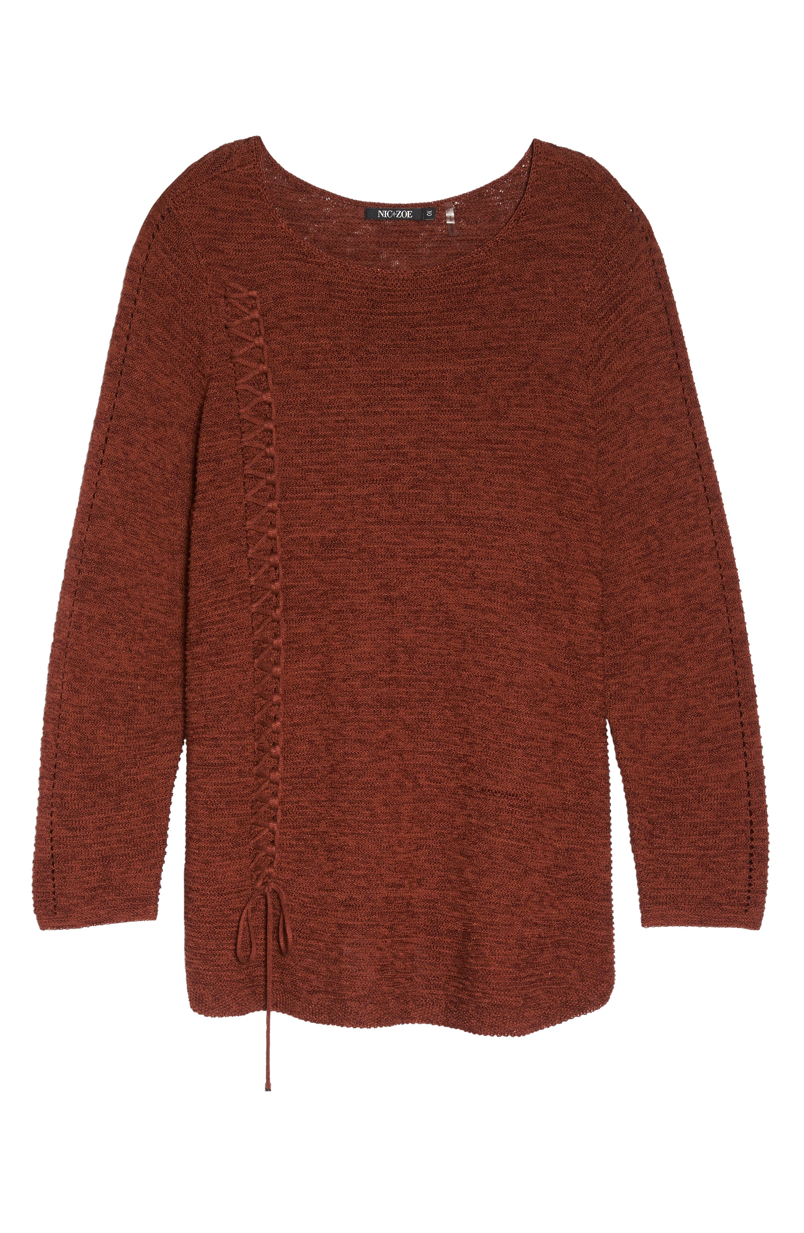Braided Up Sweater,                             Alternate thumbnail 6, color,                             BRANDY
