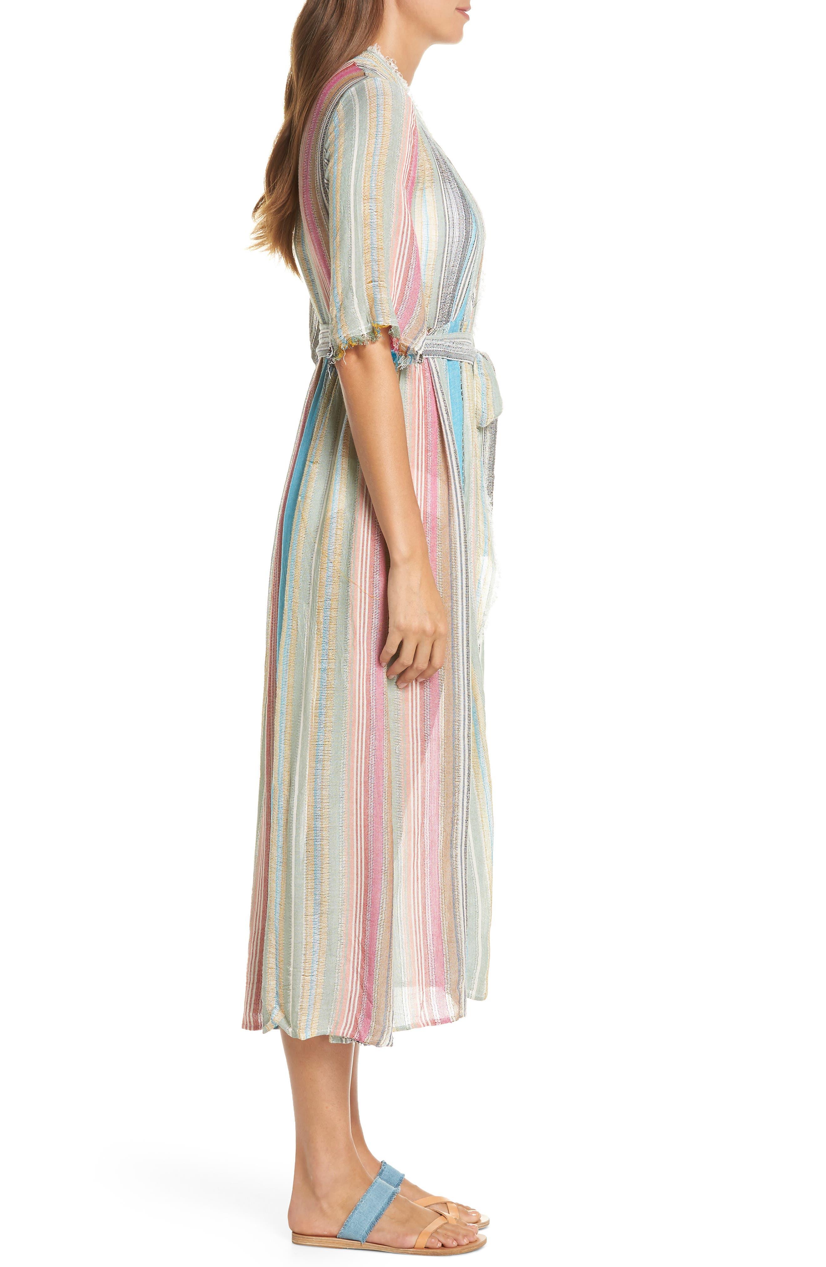 Tie Front Cover-Up Dress,                             Alternate thumbnail 3, color,                             MULTI STRIPE