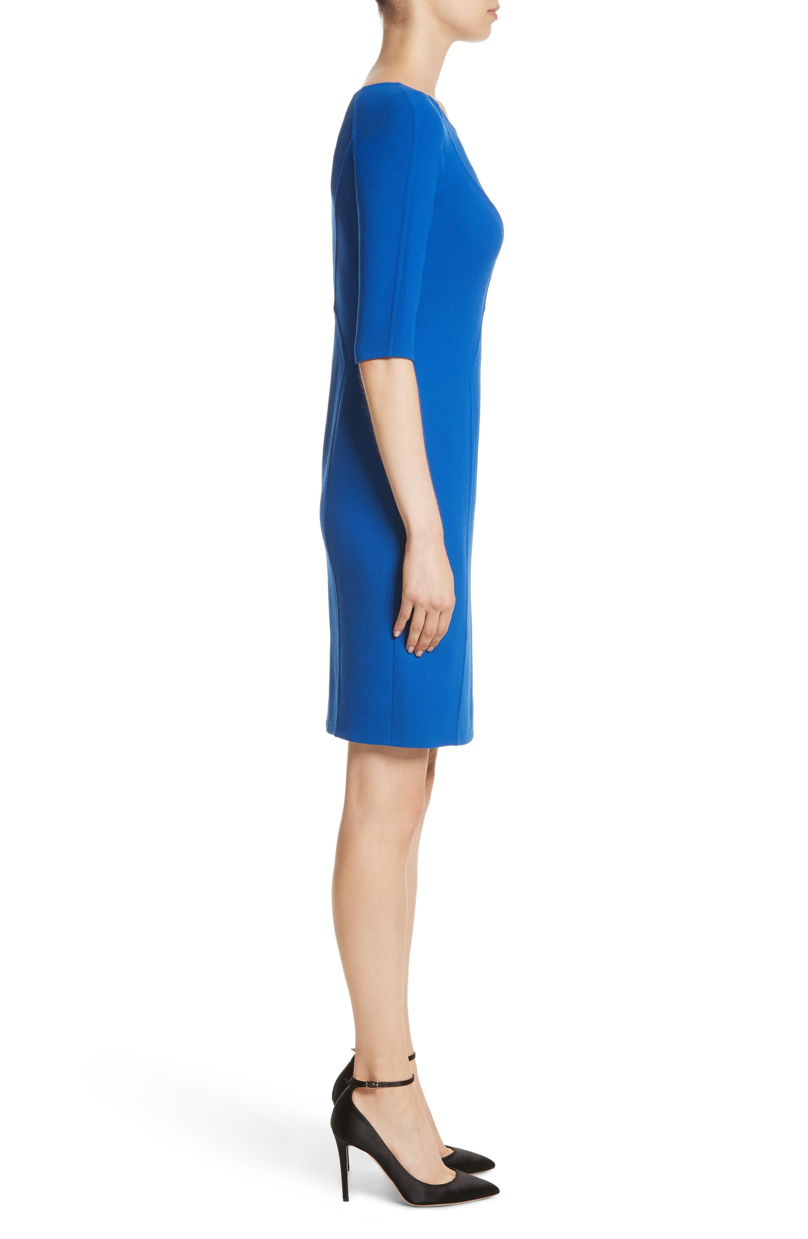 Carmen Marc Valvo Double Face Wool Crepe Sheath Dress,                             Alternate thumbnail 6, color,