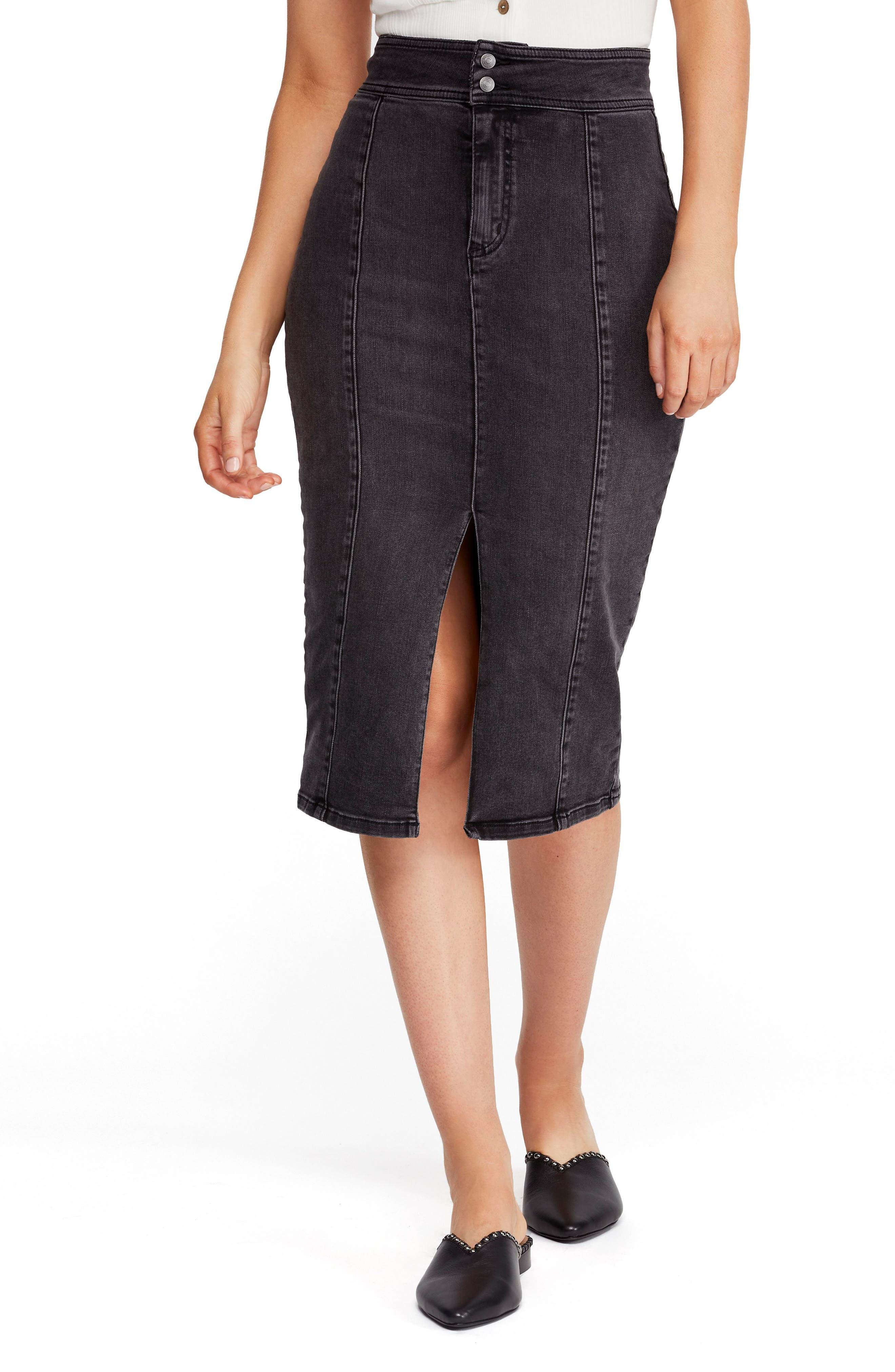 Free People Maddie Denim Midi Skirt, Black