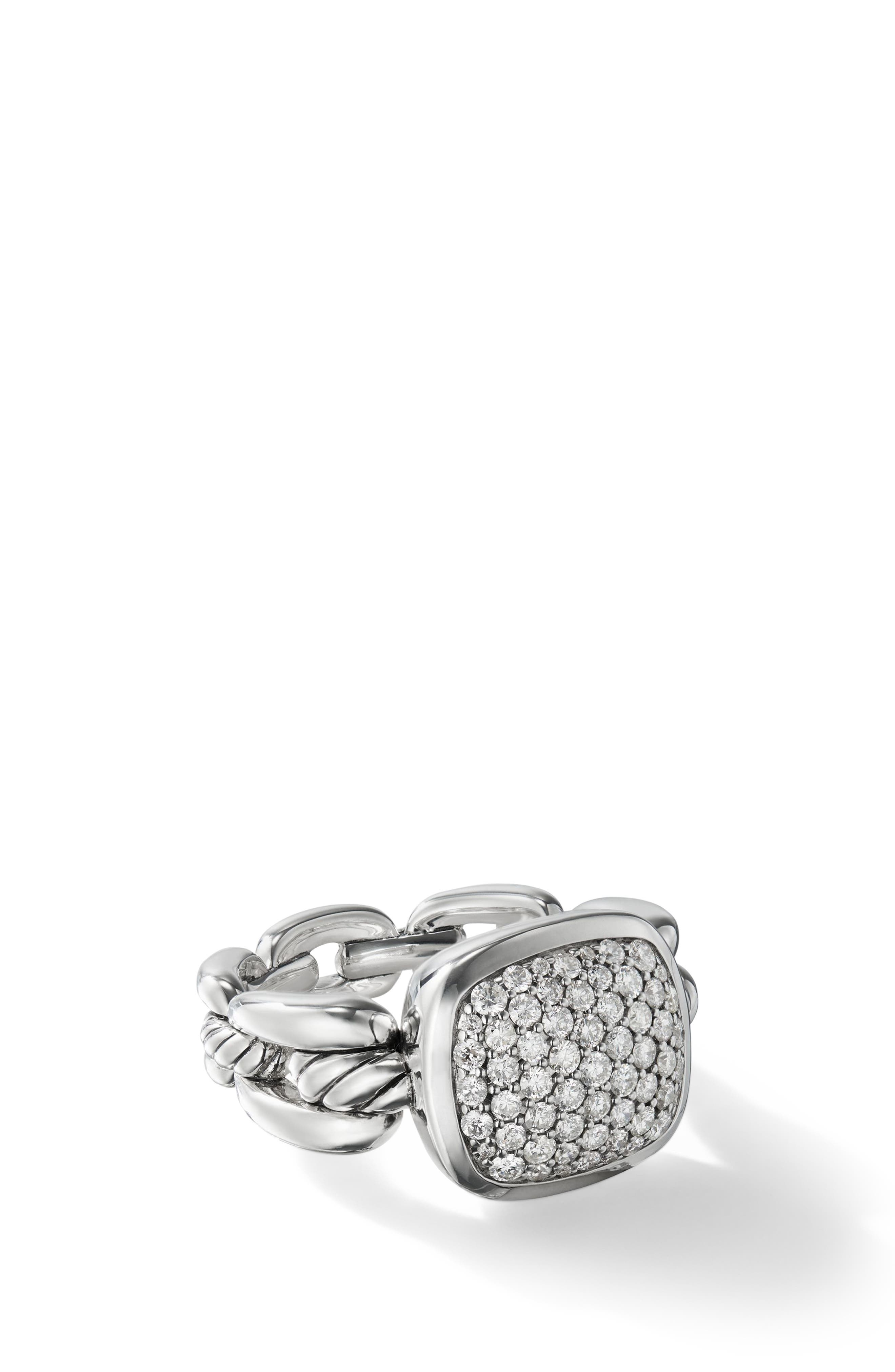 Wellesley Link Ring with Diamonds,                             Alternate thumbnail 2, color,                             SILVER/ DIAMOND