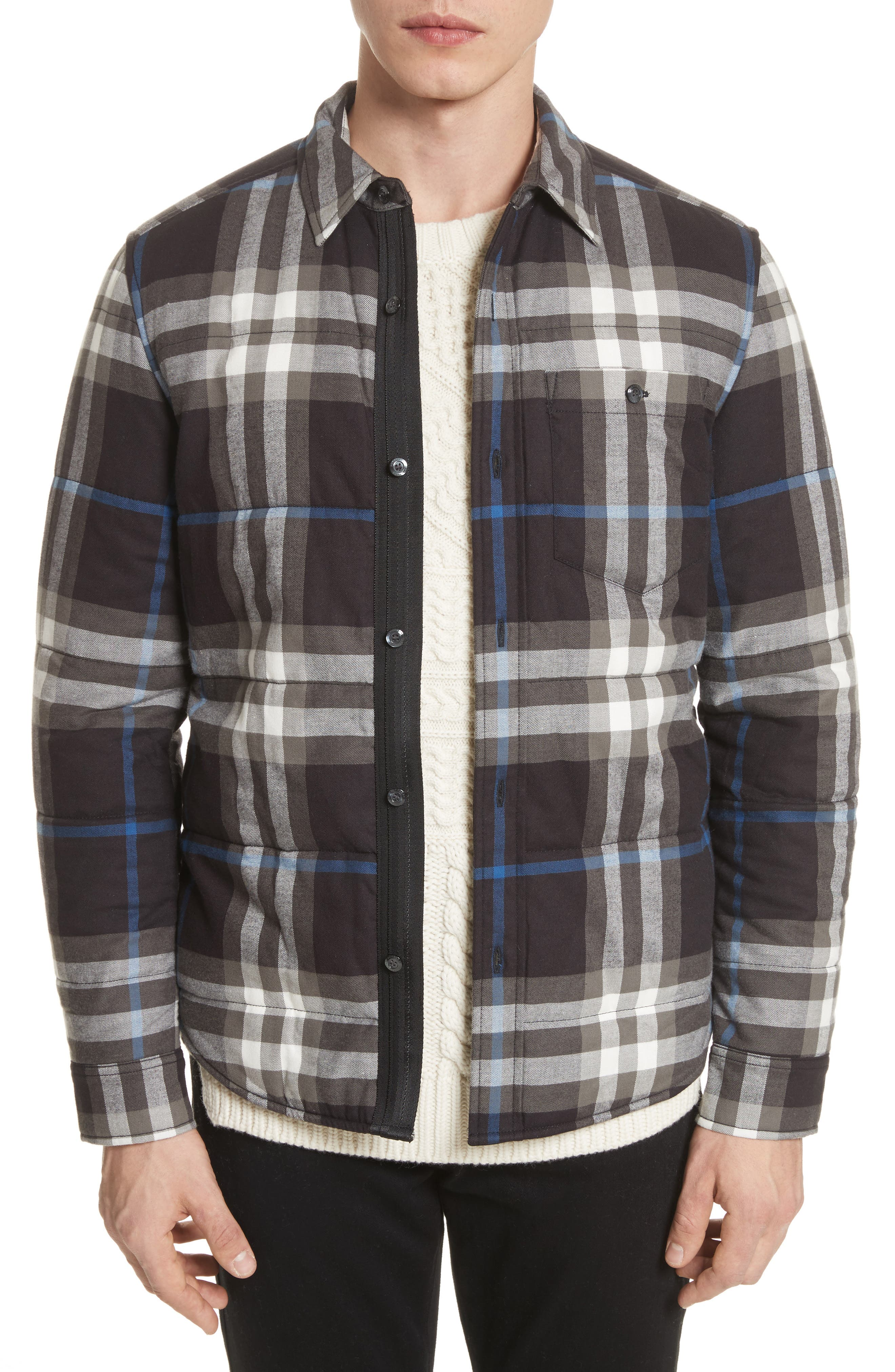 Walsden Plaid Flannel Shirt Jacket,                             Main thumbnail 1, color,                             001