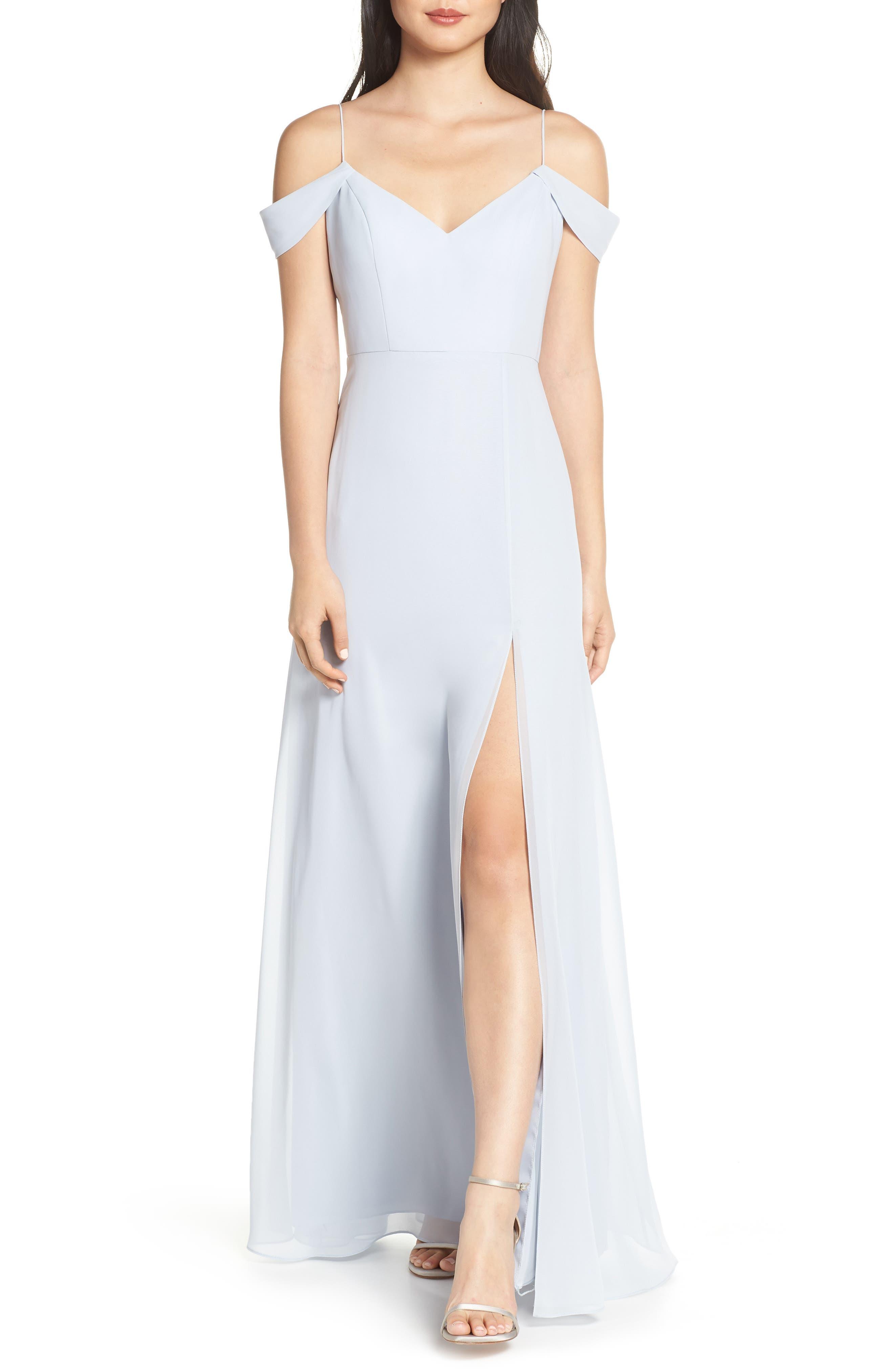Jenny Yoo Priya Cold Shoulder Chiffon Evening Dress, Blue
