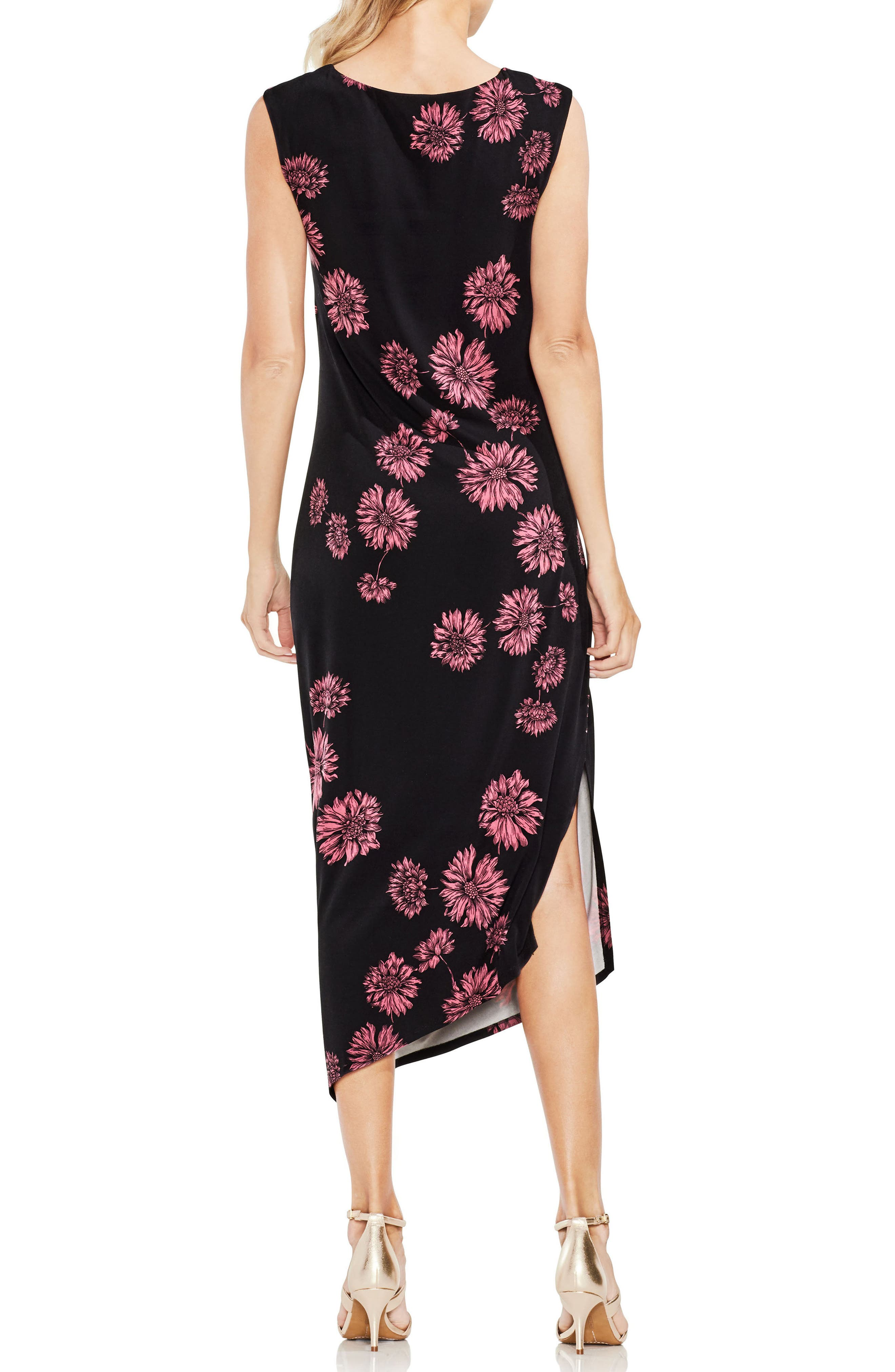 VINCE CAMUTO,                             Chateau Floral Side Ruched Body-Con Dress,                             Alternate thumbnail 2, color,                             001
