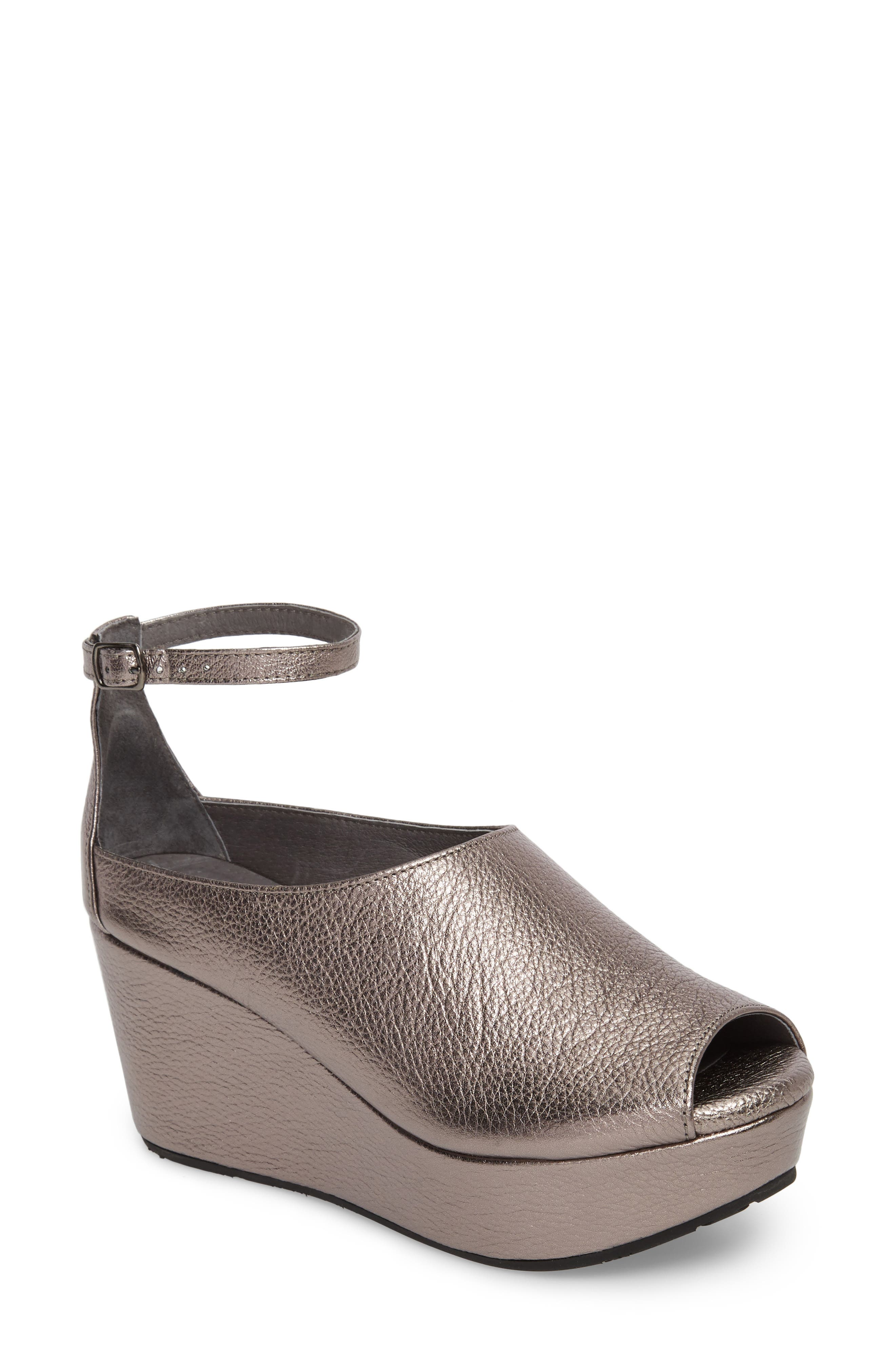 Walter Ankle Strap Wedge Sandal,                         Main,                         color, GUNMETAL LEATHER