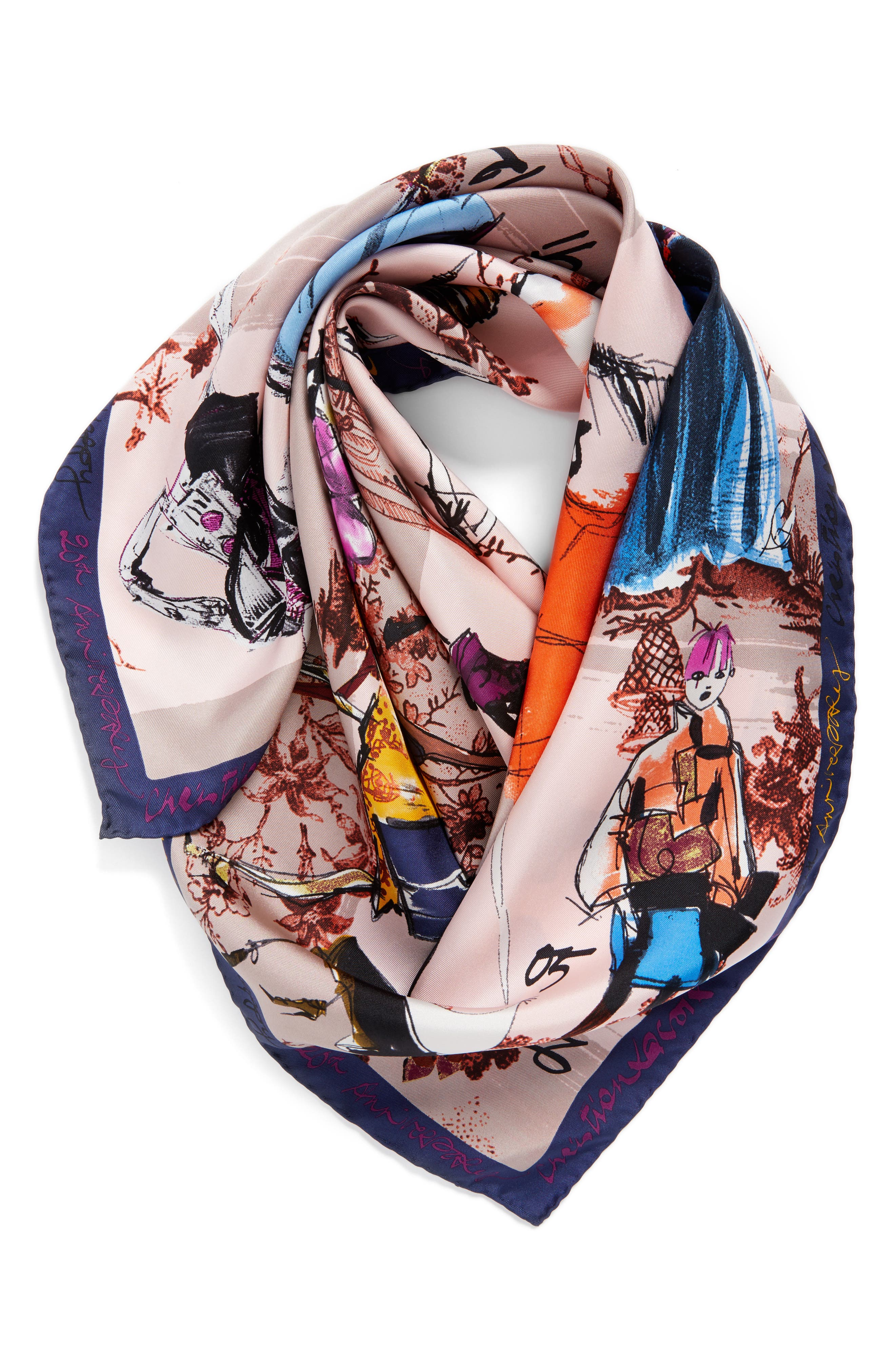 '20 Ans' Square Silk Scarf,                             Alternate thumbnail 13, color,