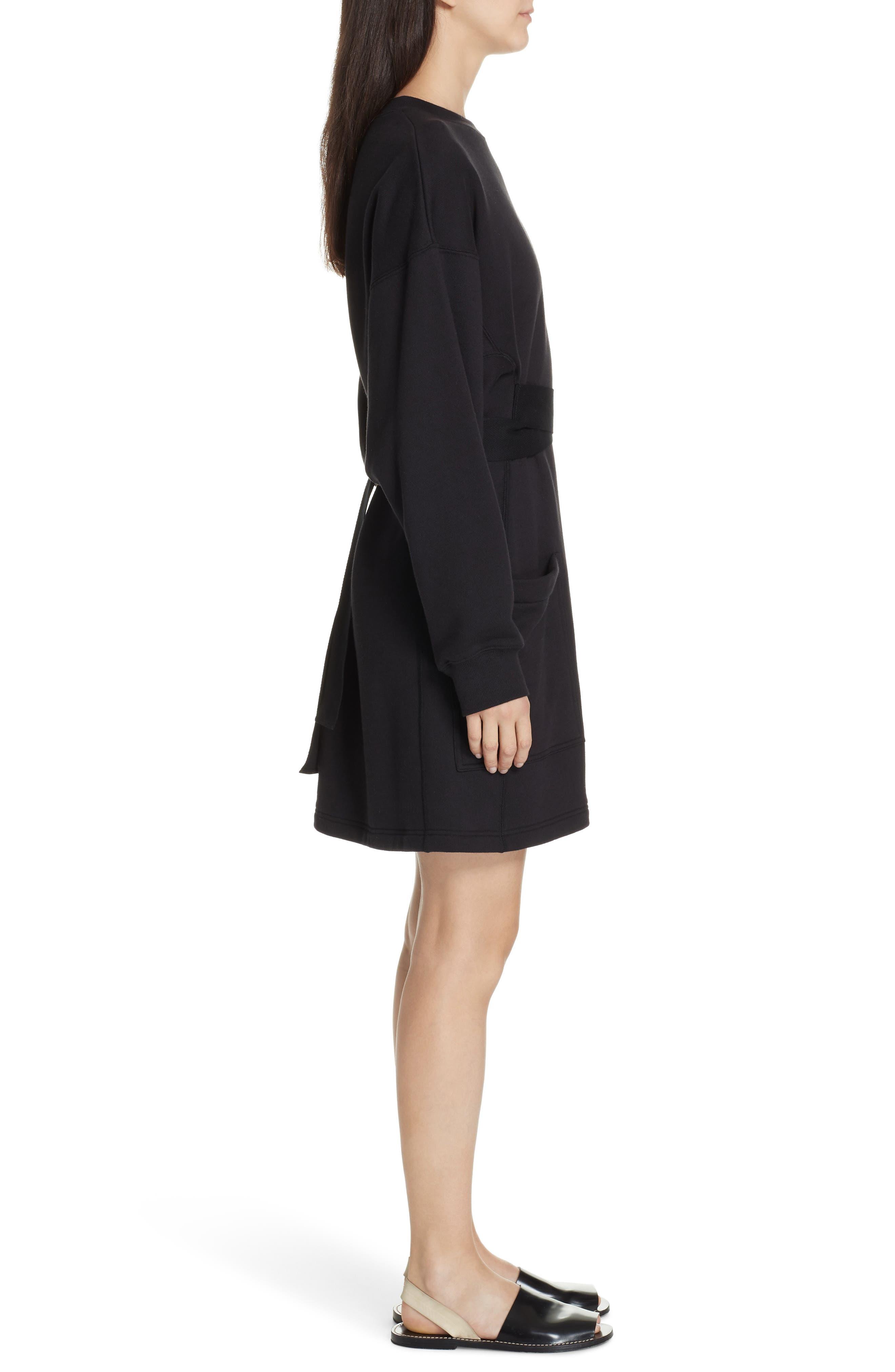 PSWL Belted Sweatshirt Dress,                             Alternate thumbnail 3, color,                             BLACK