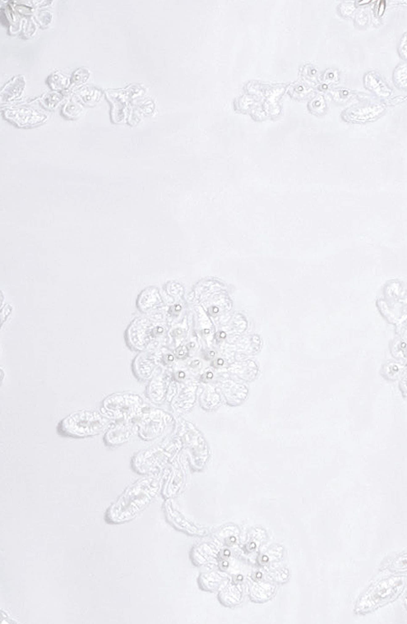 Lace Floral Fit & Flare Dress,                             Alternate thumbnail 3, color,                             WHITE