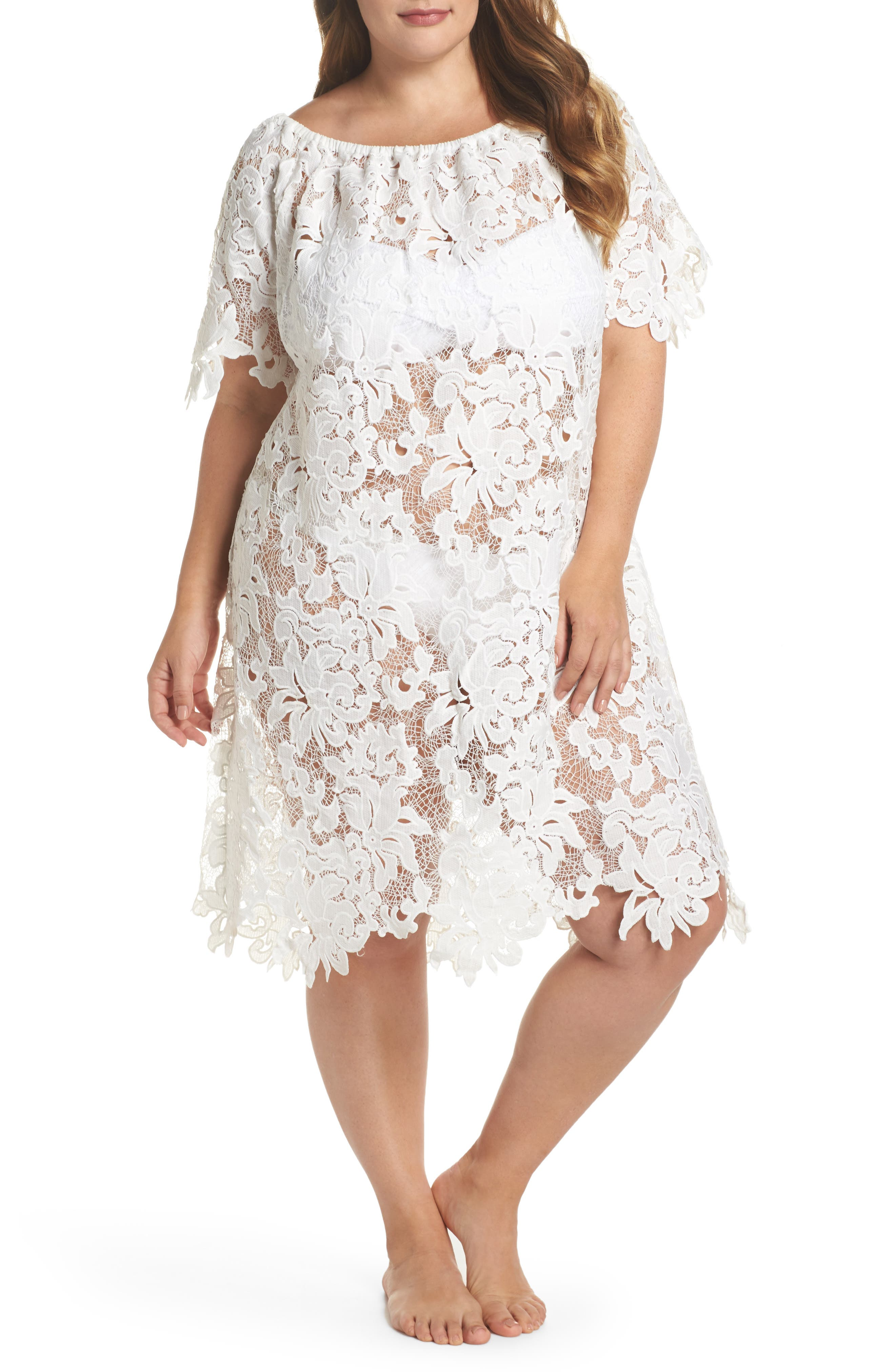 Ode Lace Cover-Up Dress,                             Main thumbnail 1, color,                             100