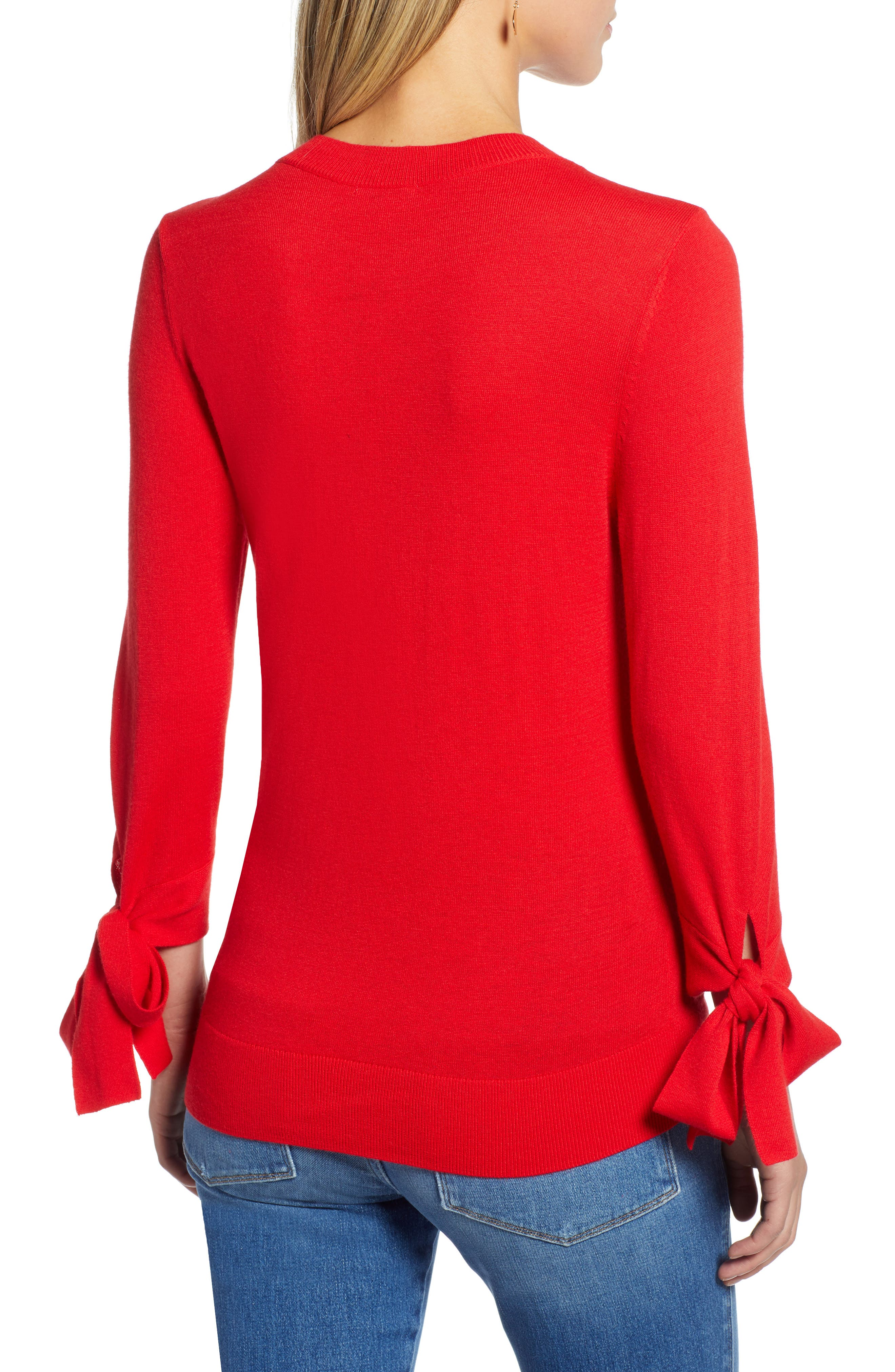 Tie Sleeve Crewneck Sweater,                             Alternate thumbnail 2, color,                             RED CHINOISE