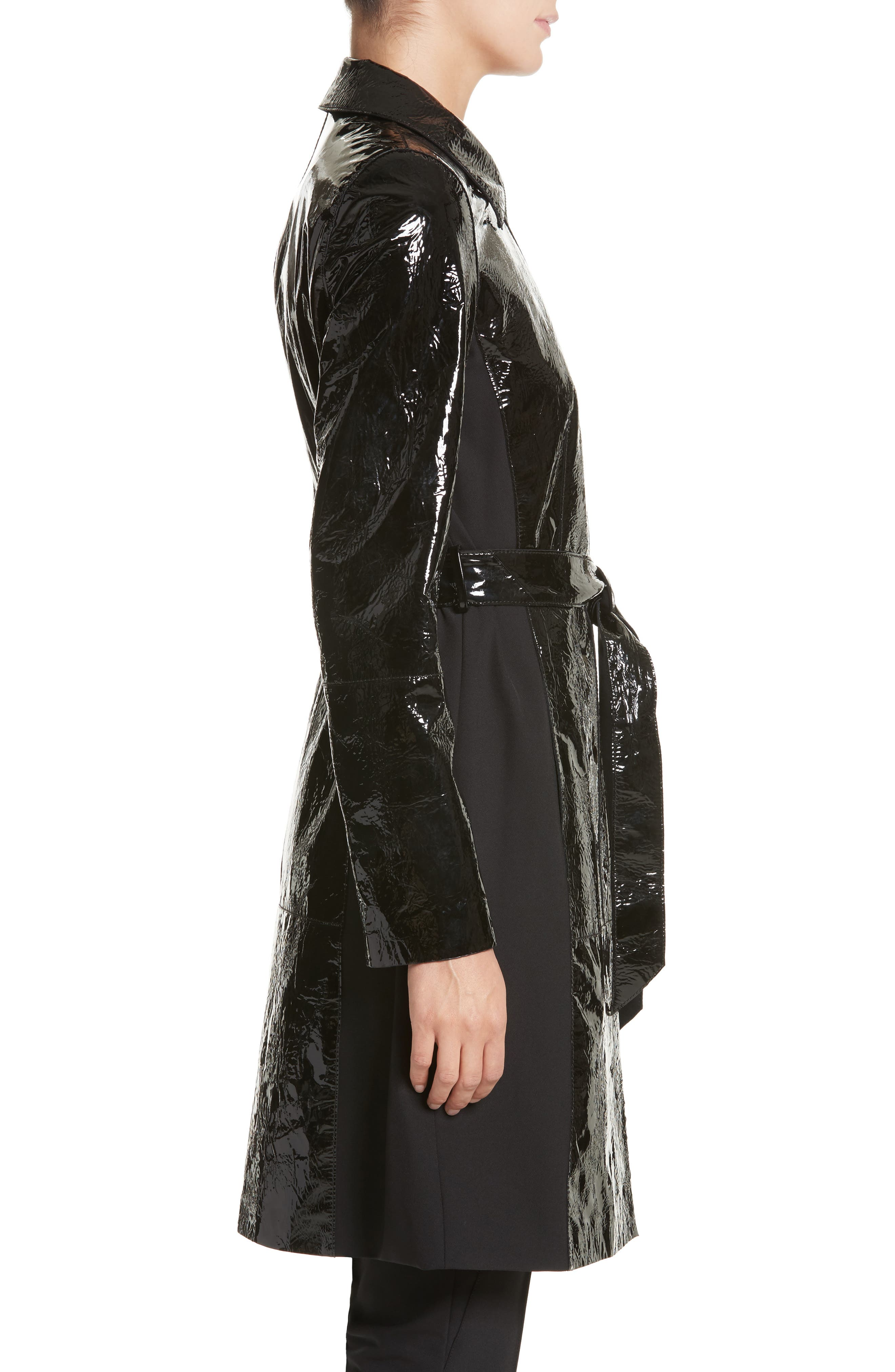 Paola Tech Combo Patent Leather Trench Coat,                             Alternate thumbnail 3, color,