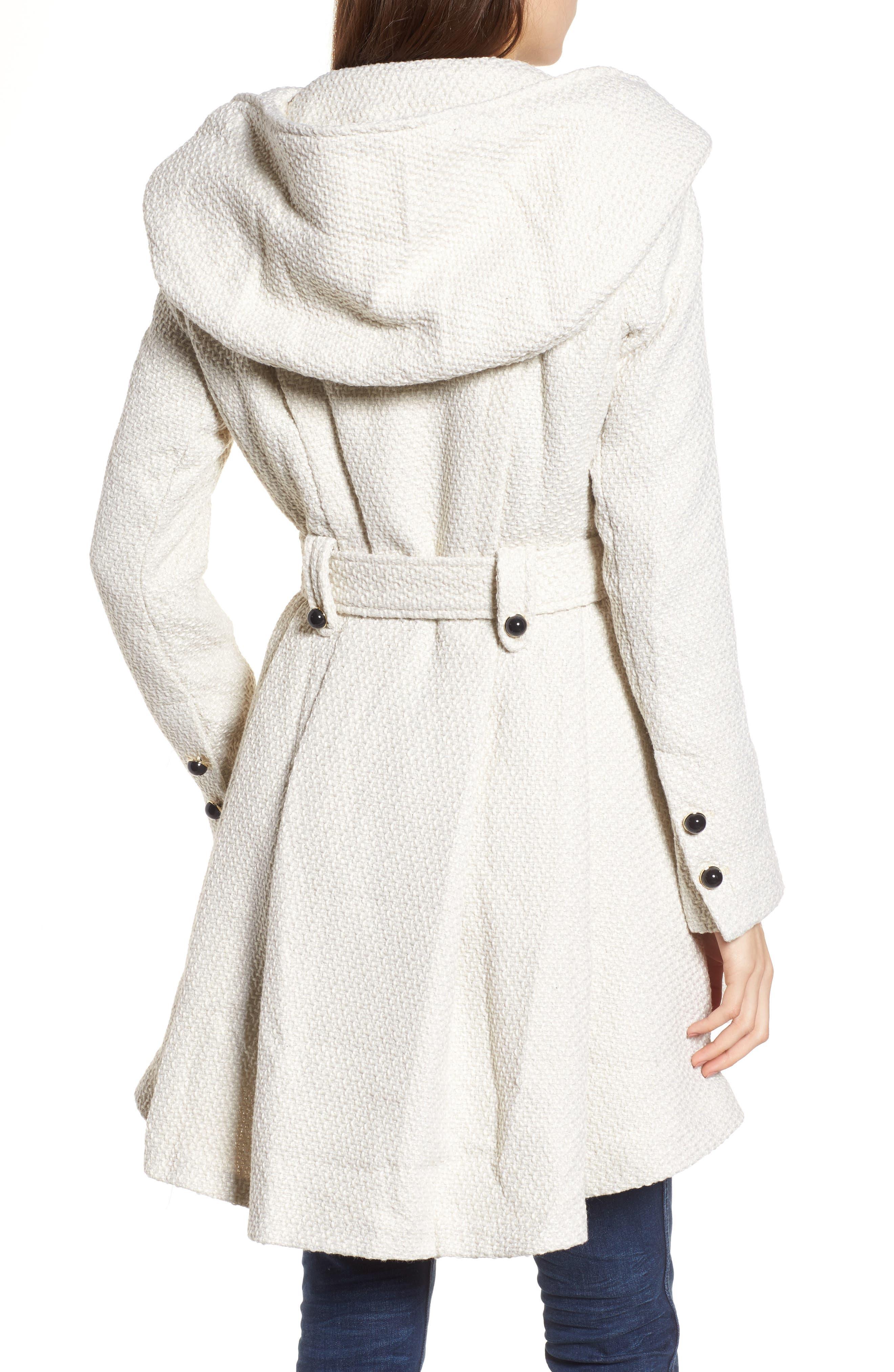 Belted Hooded Skirted Coat,                             Alternate thumbnail 2, color,                             902