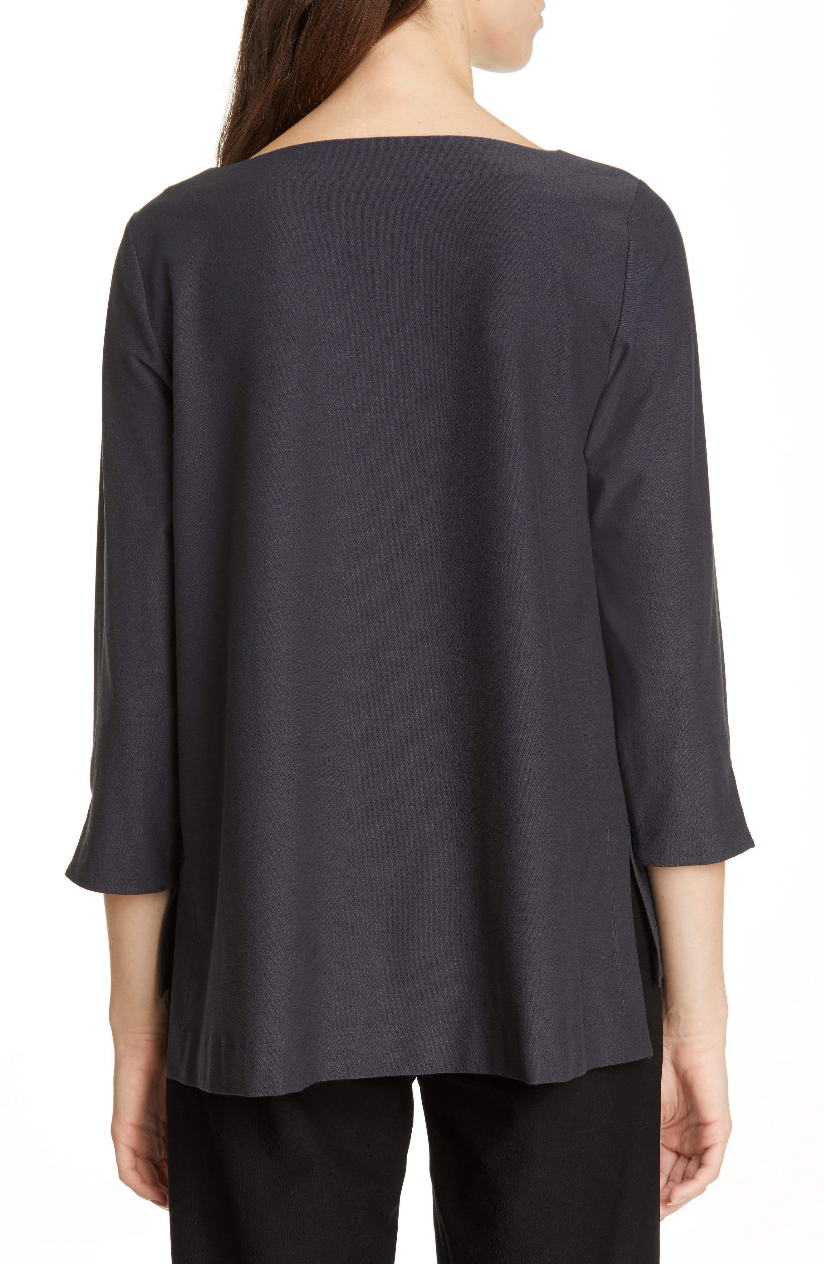 EILEEN FISHER,                             Boxy Jersey Top,                             Alternate thumbnail 2, color,                             GRAPHITE