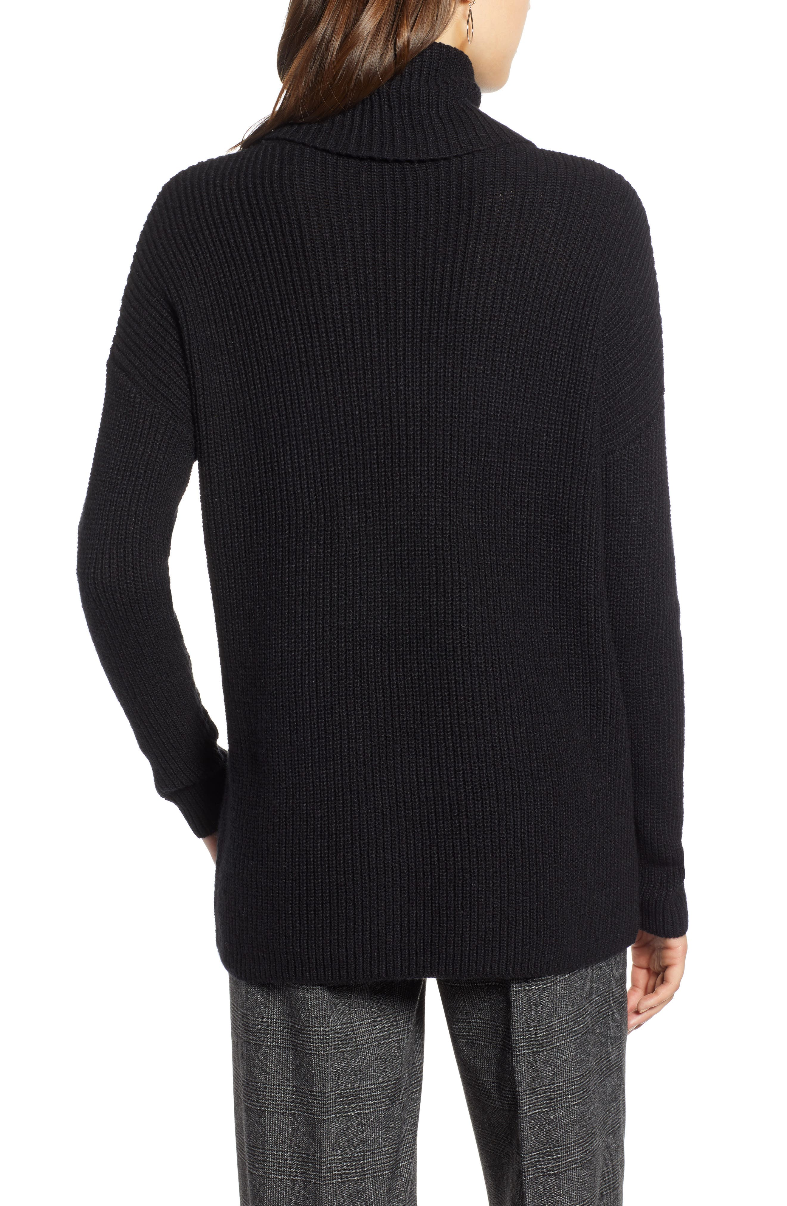 Oversized Turtleneck Tunic Sweater,                             Alternate thumbnail 2, color,                             001