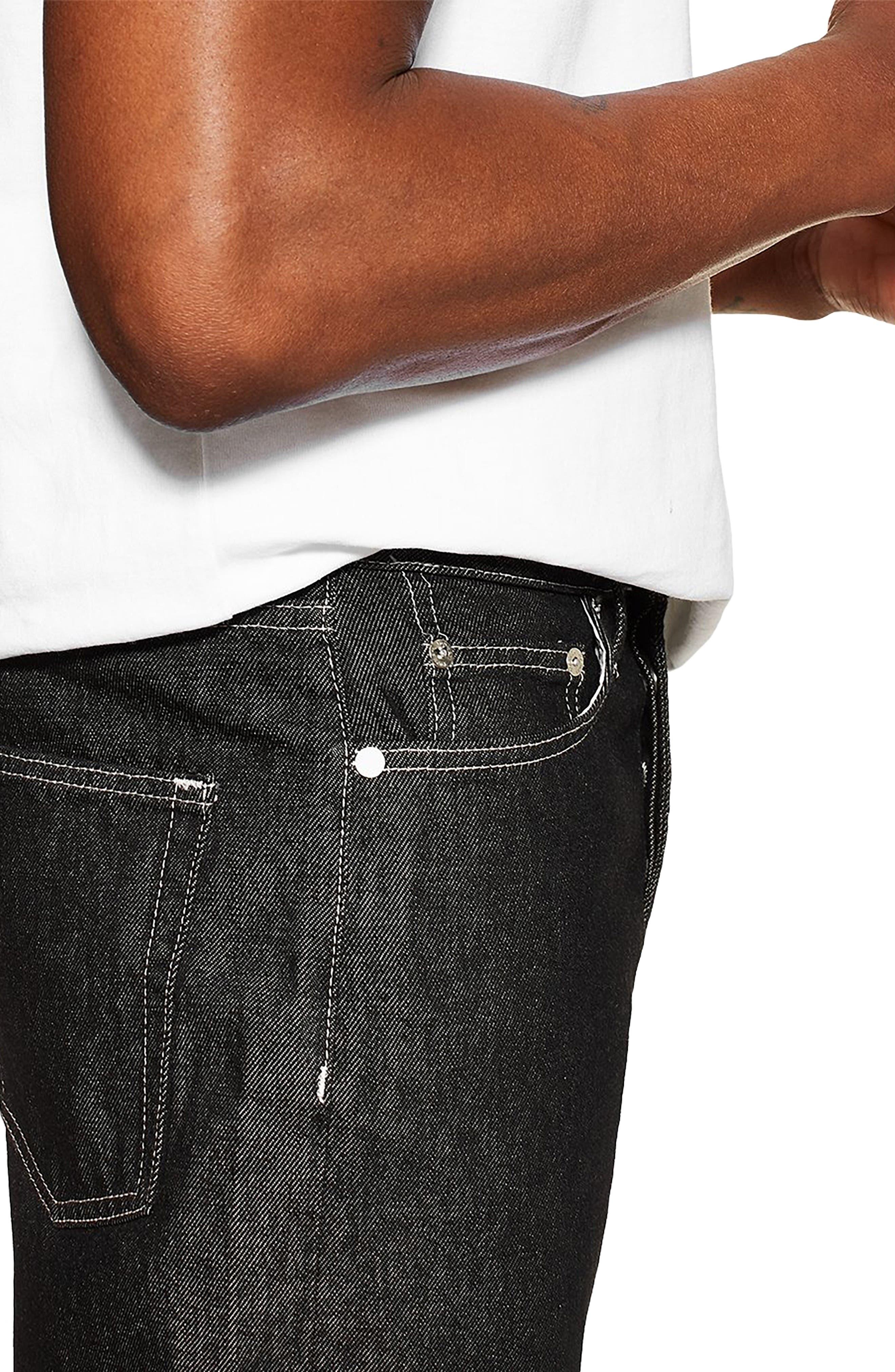 TOPMAN,                             Original Fit Jeans,                             Alternate thumbnail 3, color,                             BLACK